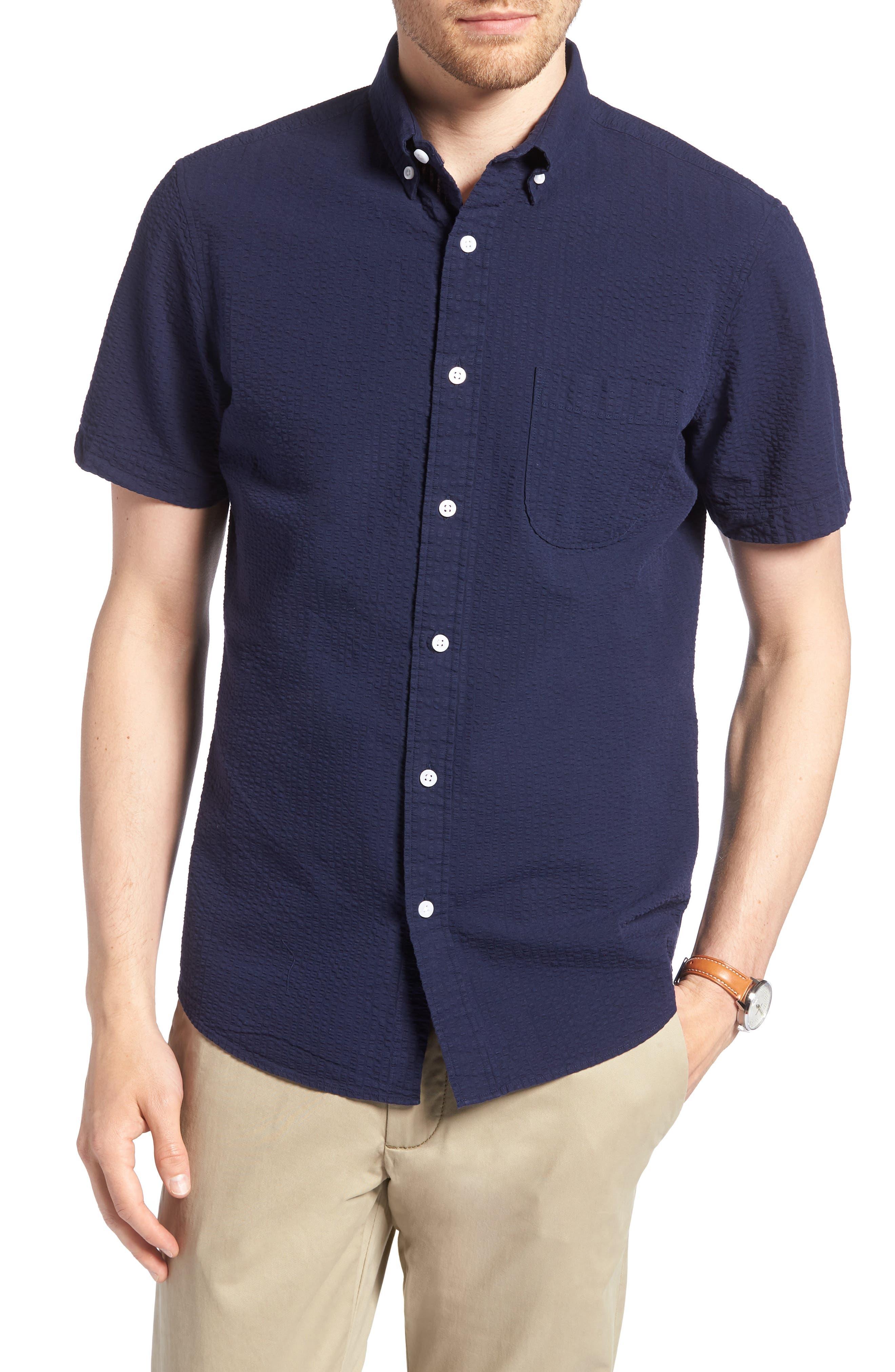 Trim Fit Seersucker Sport Shirt,                         Main,                         color, Navy Iris Seersucker