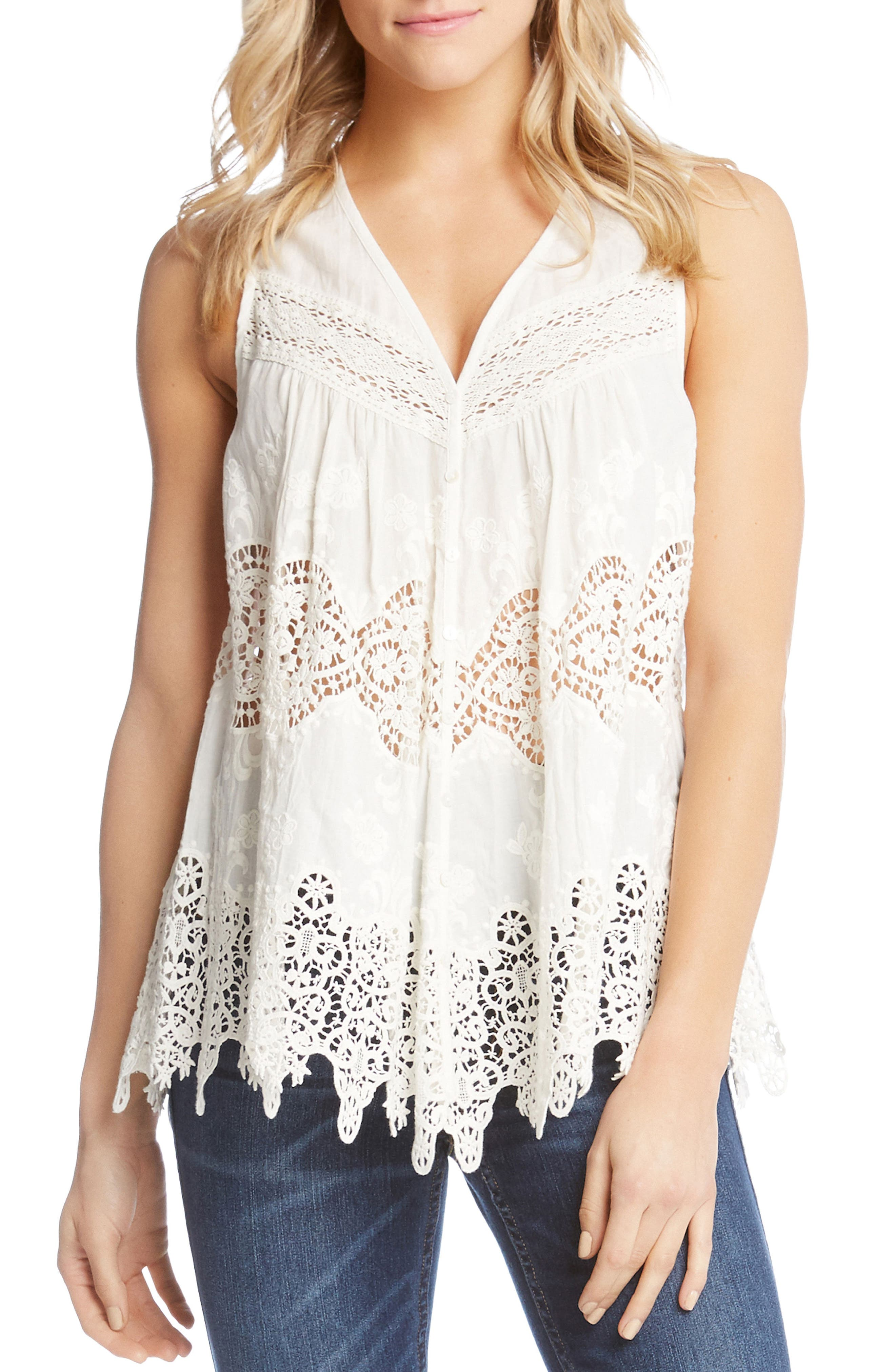 Embroidered Cotton Blouse,                         Main,                         color, Off White