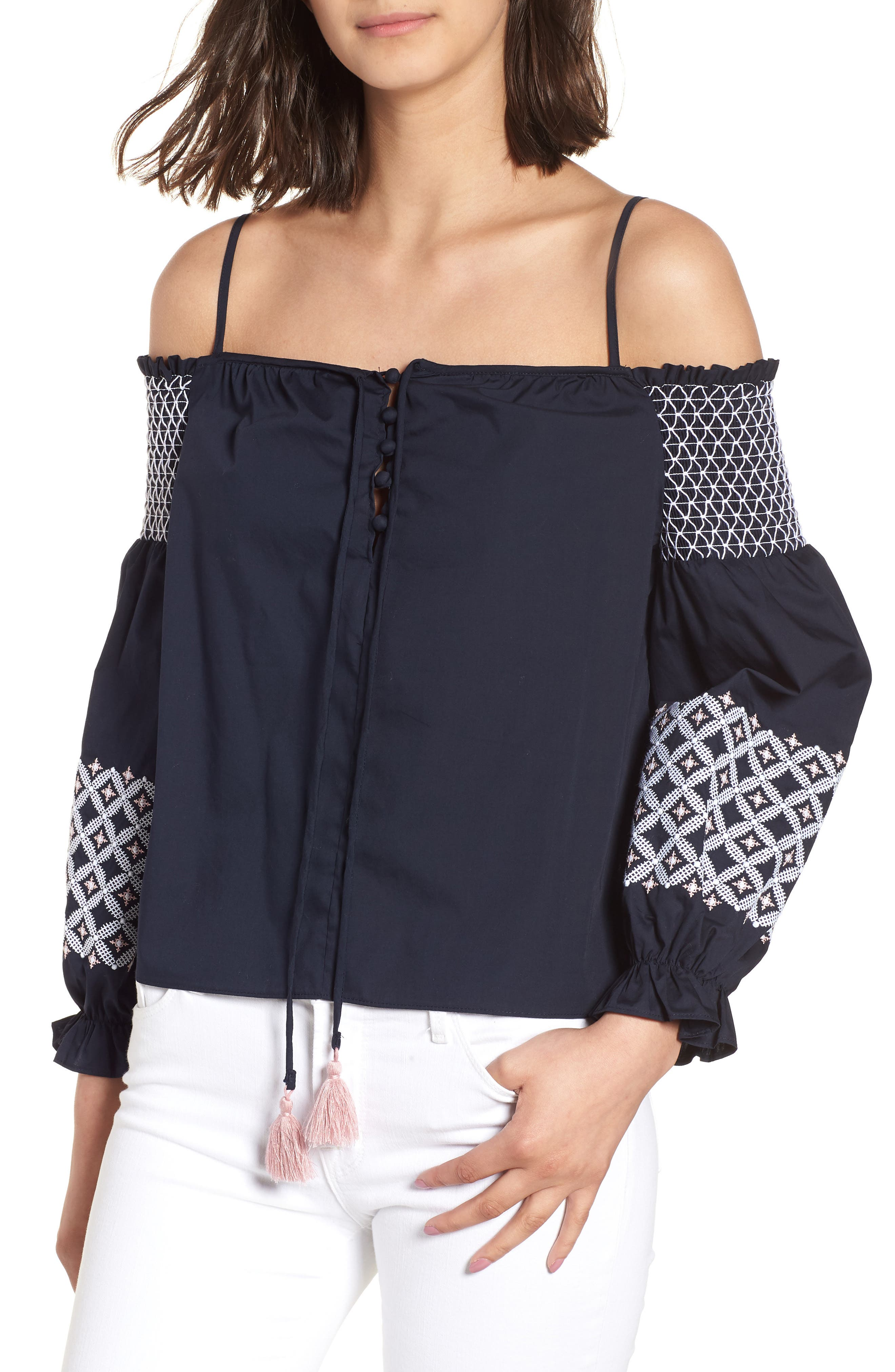 Rebecca Minkoff Tiffany Embroidered Cold Shoulder Top