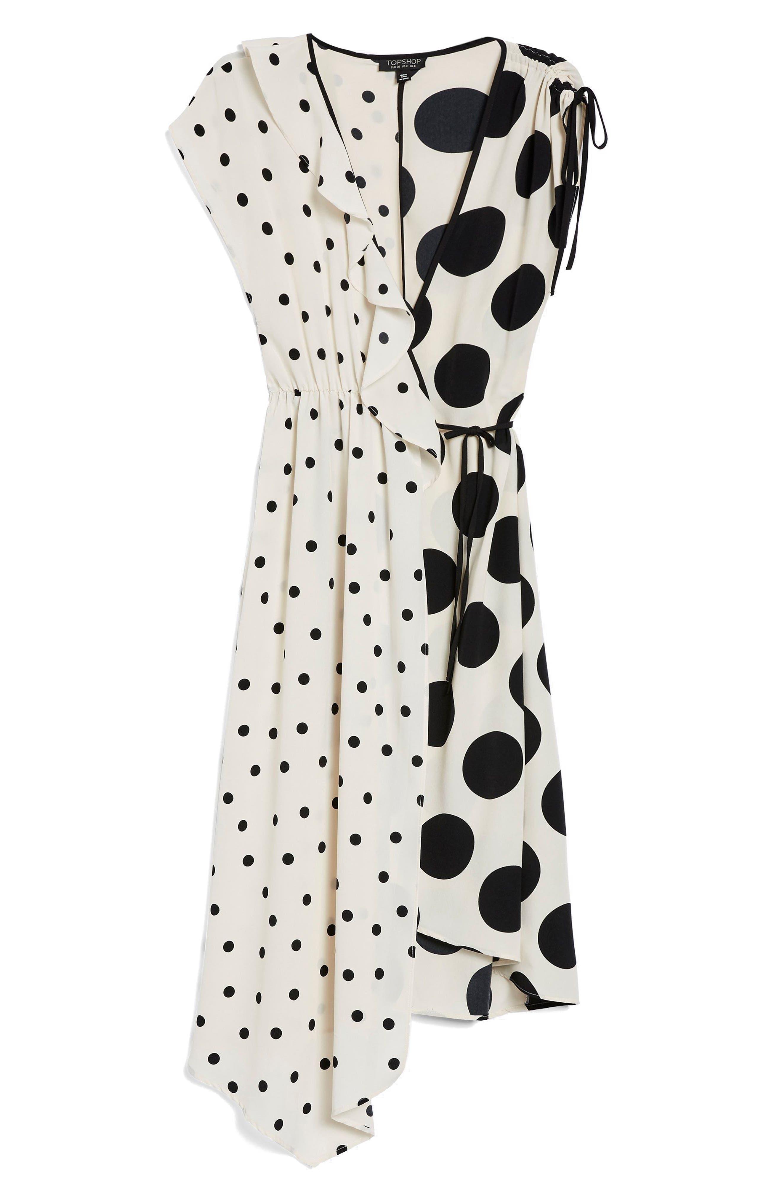 Mix Spot Midi Wrap Dress,                             Alternate thumbnail 6, color,                             White Multi