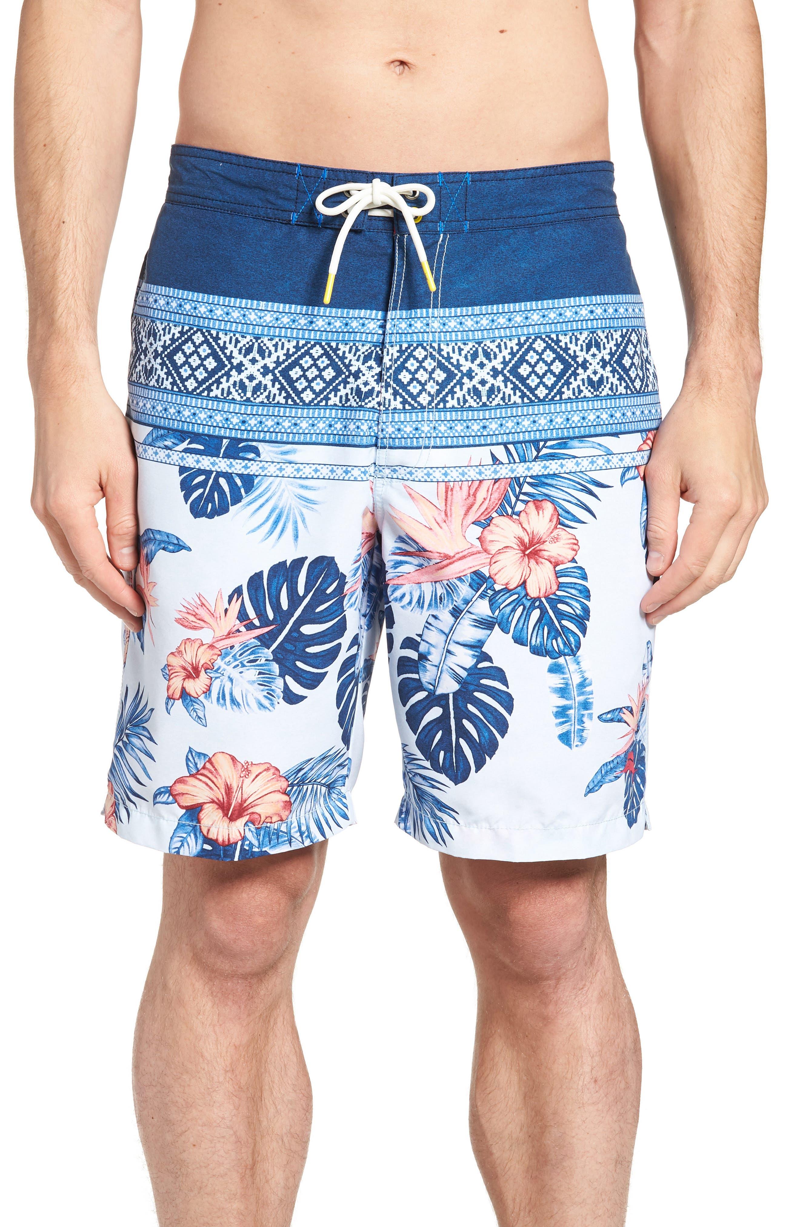 Baja Casa Rosa Board Shorts,                             Main thumbnail 1, color,                             Mountain Bluebell