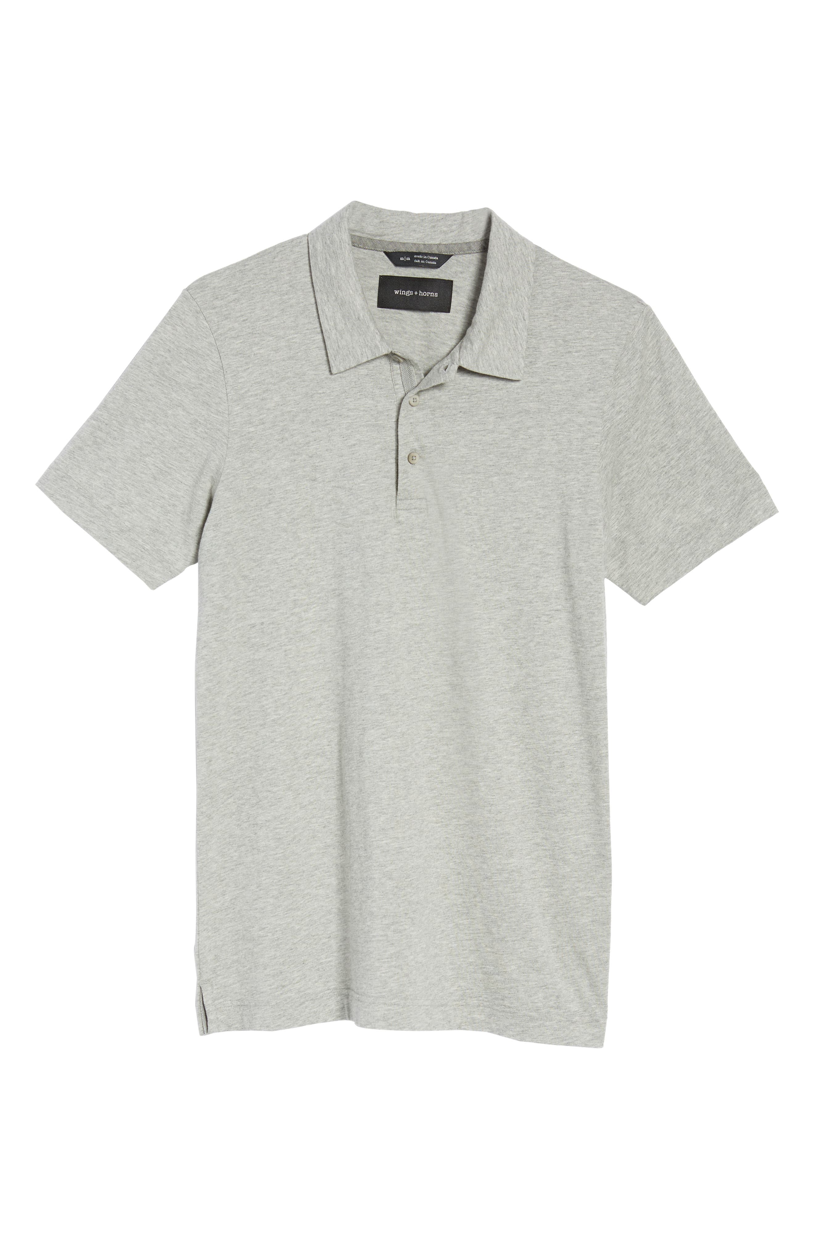 Short Sleeve Polo Shirt,                             Alternate thumbnail 6, color,                             Heather Grey
