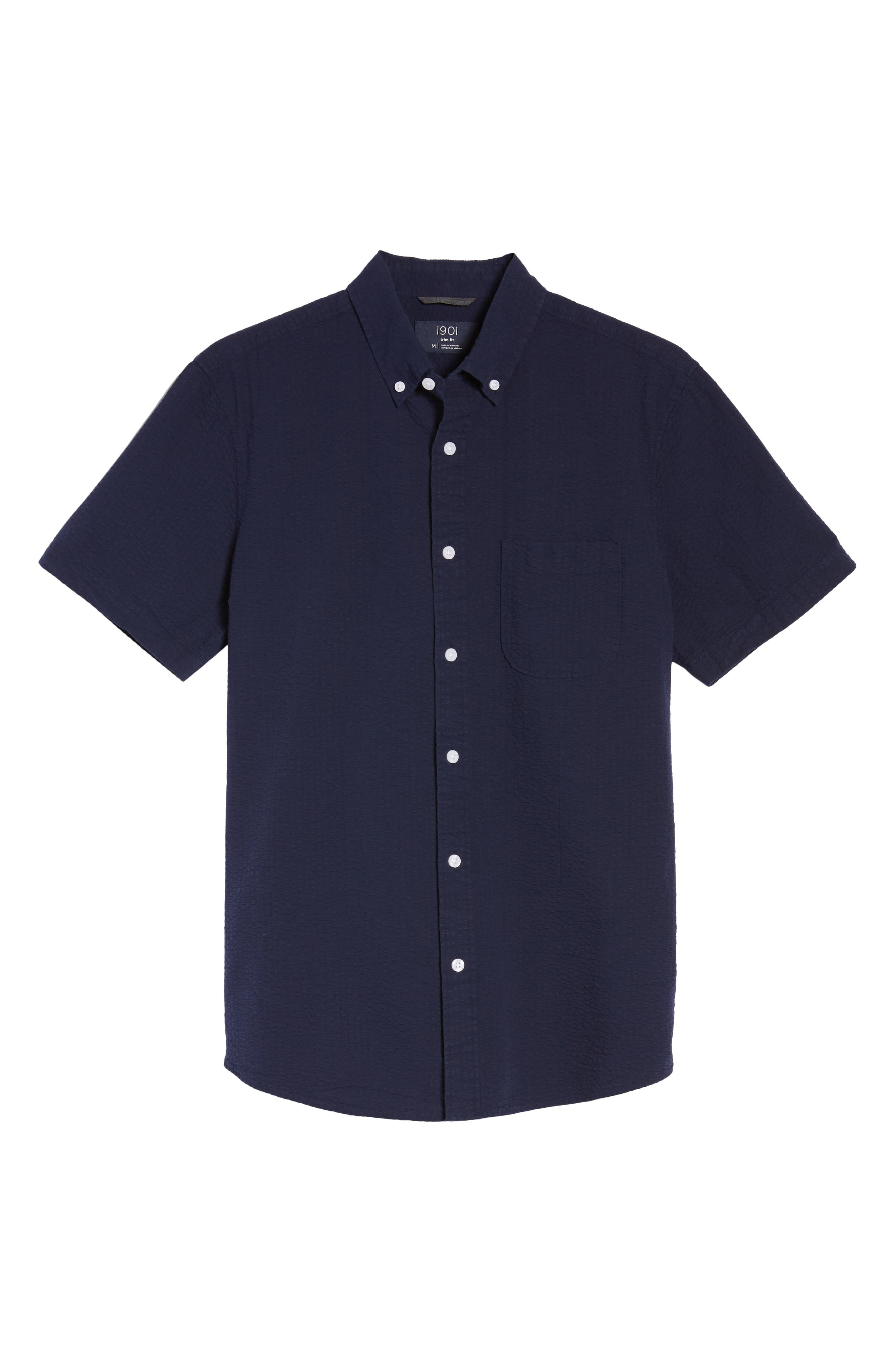 Trim Fit Seersucker Sport Shirt,                             Alternate thumbnail 6, color,                             Navy Iris Seersucker