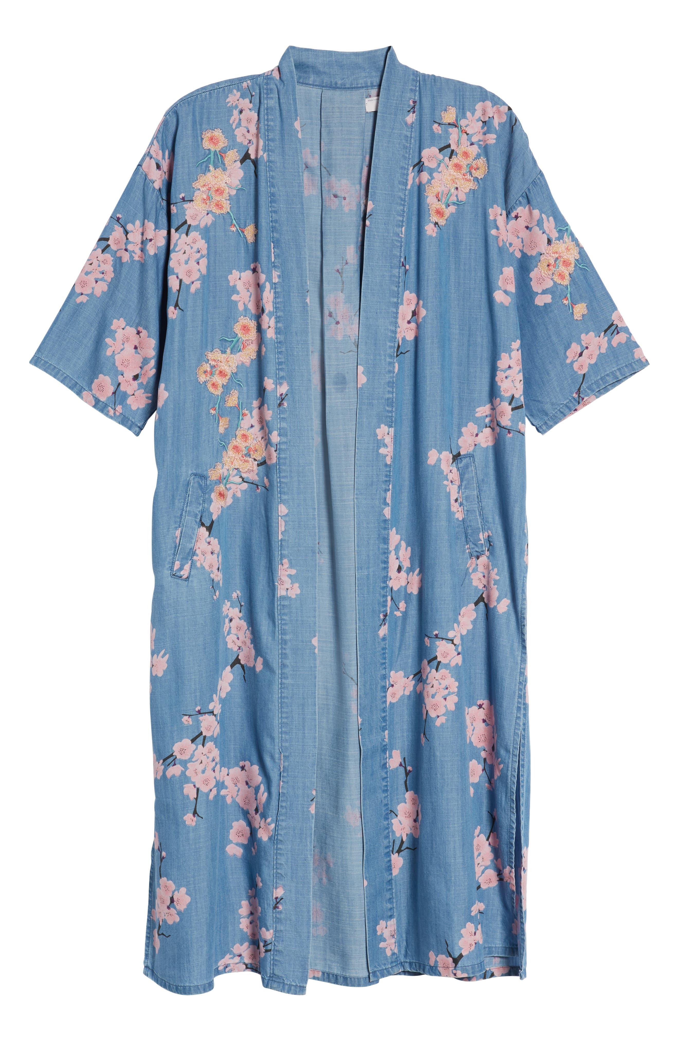 Cherry Blossom Kimono,                             Alternate thumbnail 7, color,                             Blue Cherry Blossom
