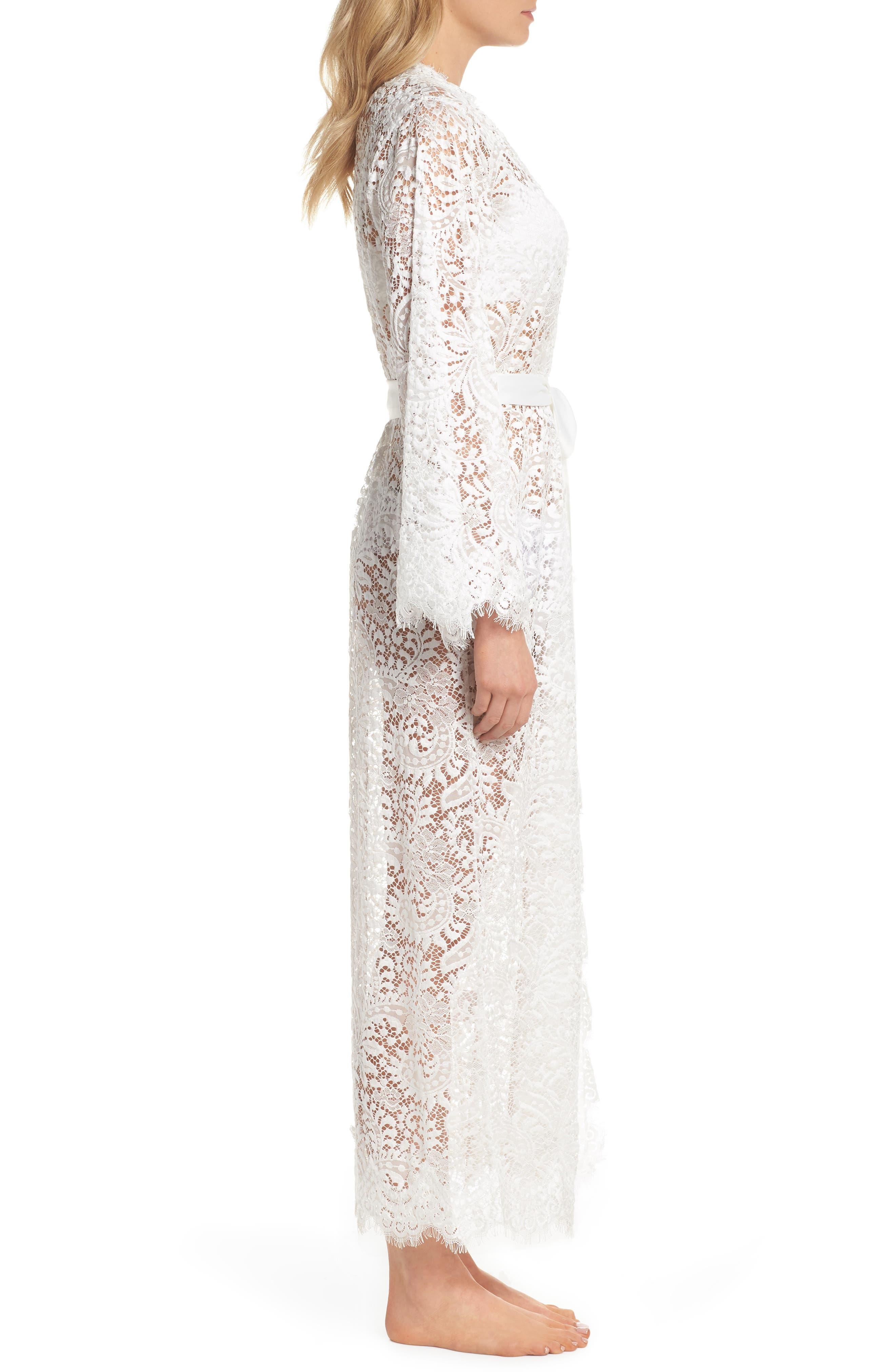 Anemone Long Lace Wrap,                             Alternate thumbnail 3, color,                             White