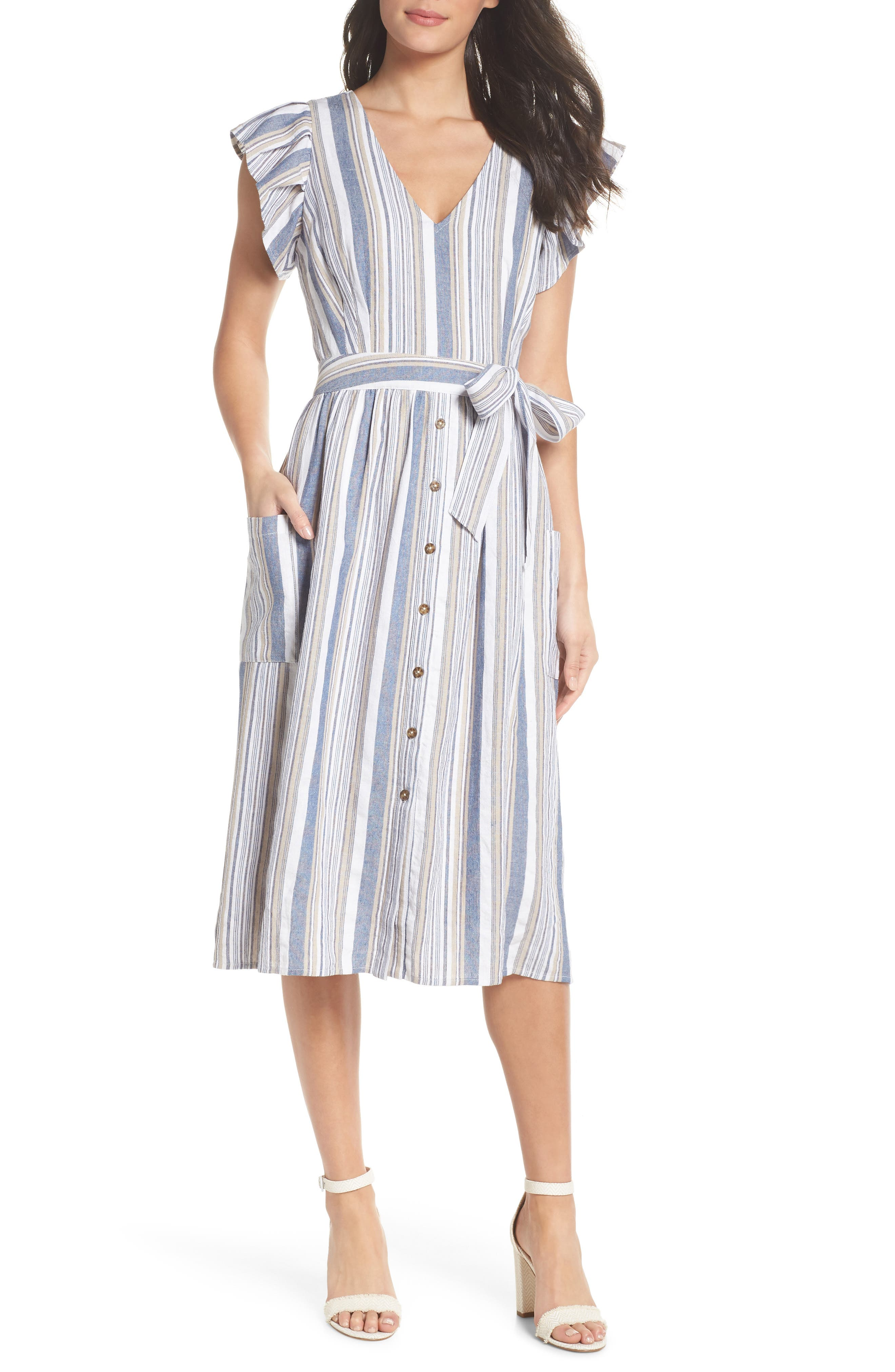 Stripe Button Front Fit & Flare Midi Dress,                             Main thumbnail 1, color,                             Blue Multi
