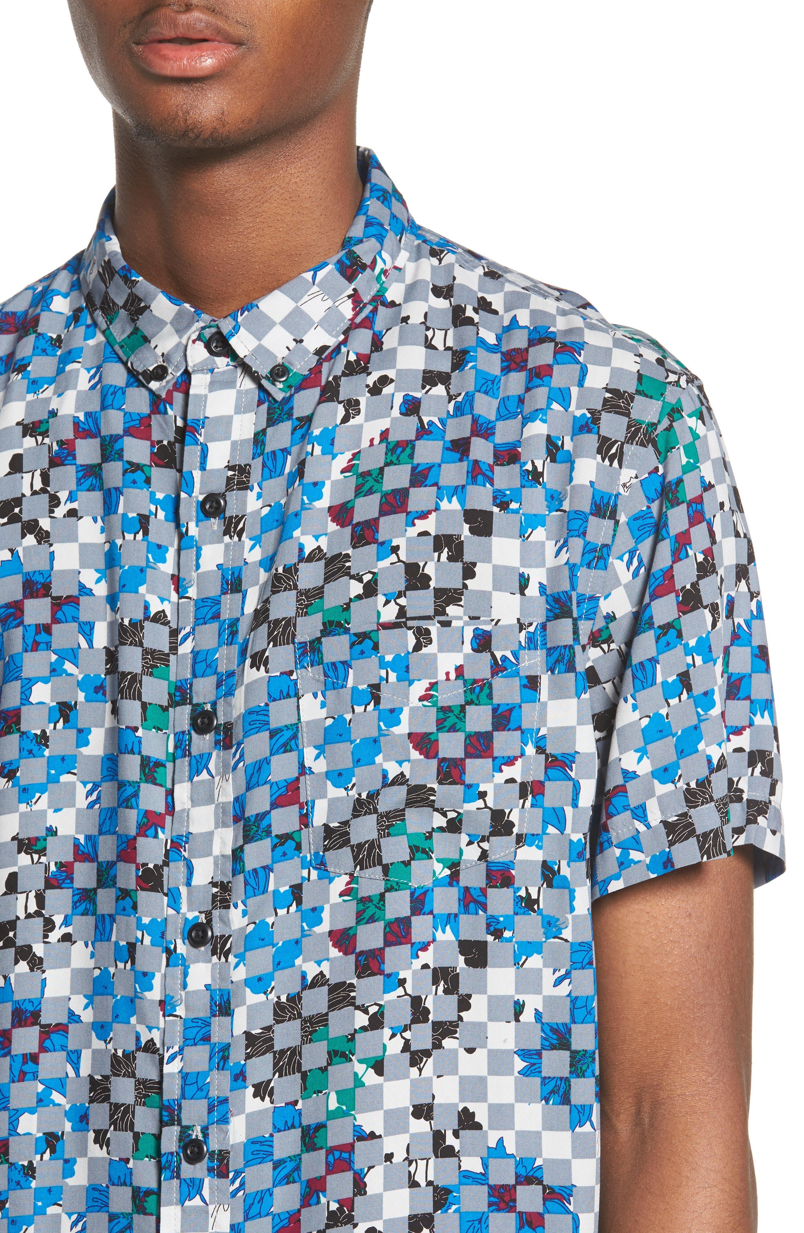 Woven Print Shirt,                             Alternate thumbnail 2, color,                             Grey Checker Board Floral