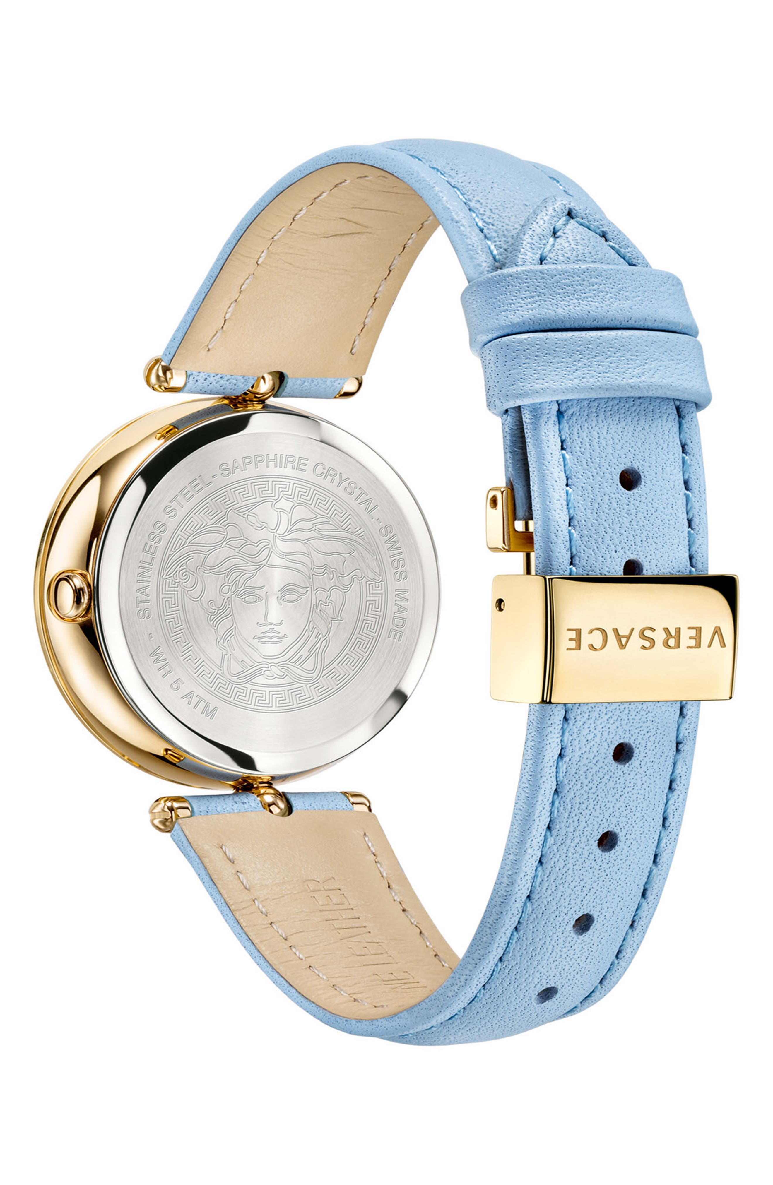 Palazzo Empire Leather Strap Watch, 34mm,                             Alternate thumbnail 2, color,                             Blue/ Gold