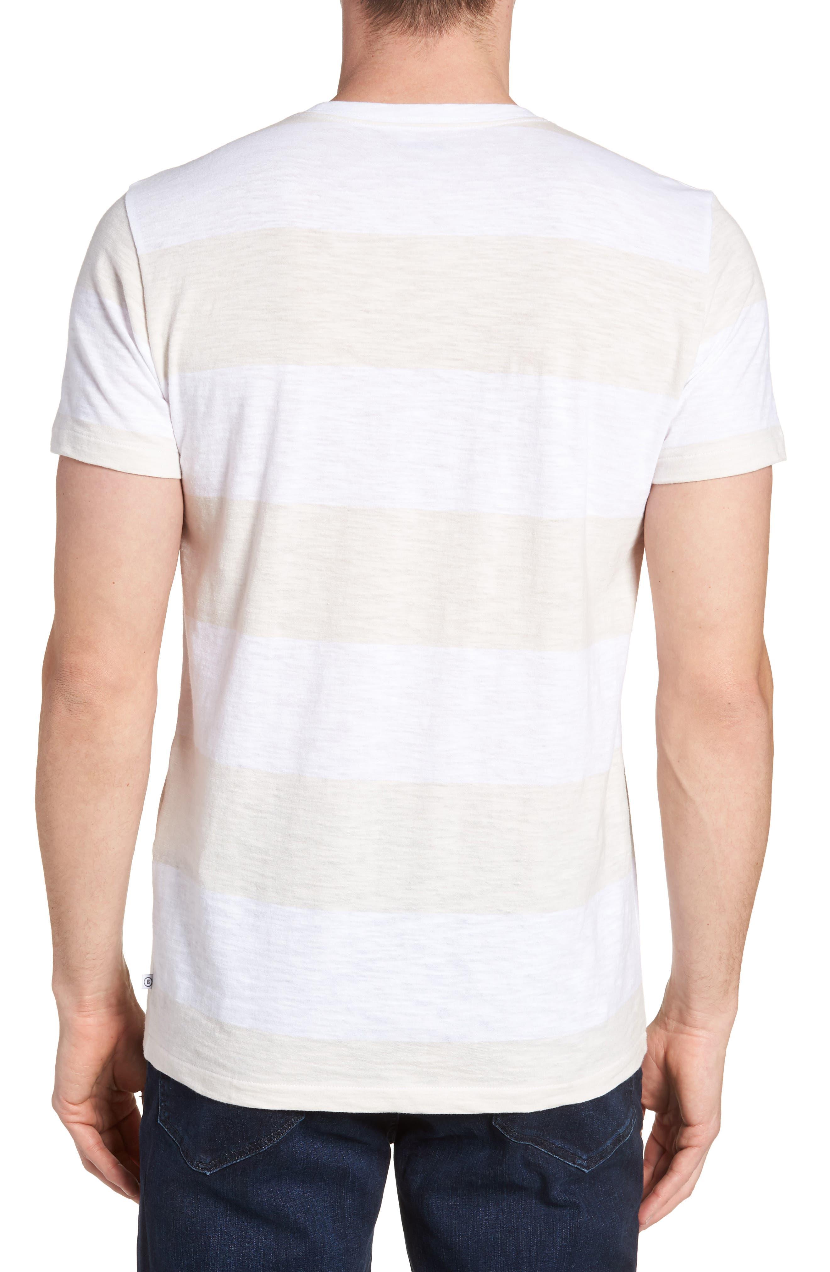 Block Stripe Slim Fit Pocket T-Shirt,                             Alternate thumbnail 2, color,                             White/ Seashell