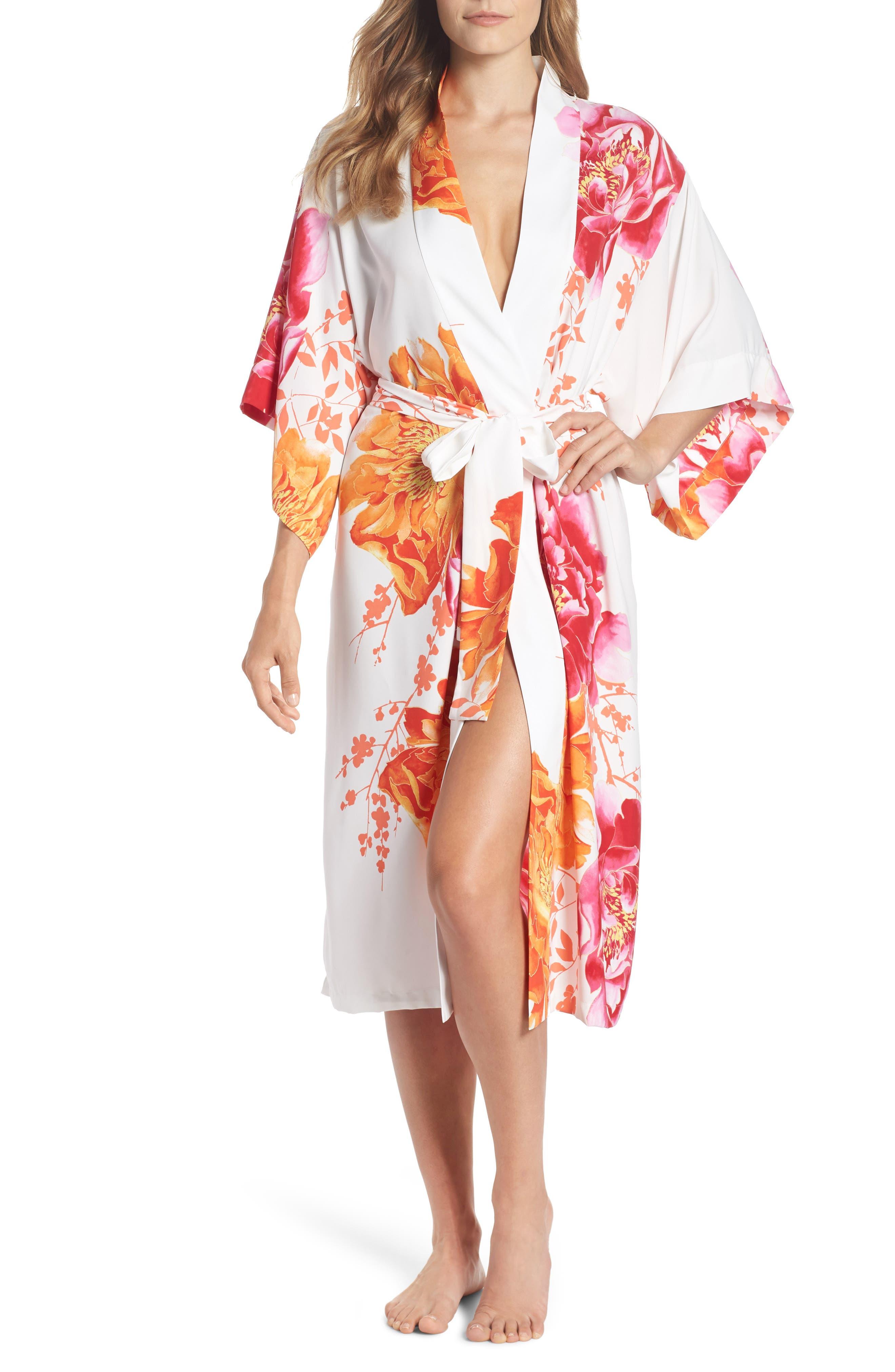 Bali Floral Print Robe,                             Main thumbnail 1, color,                             Warm White