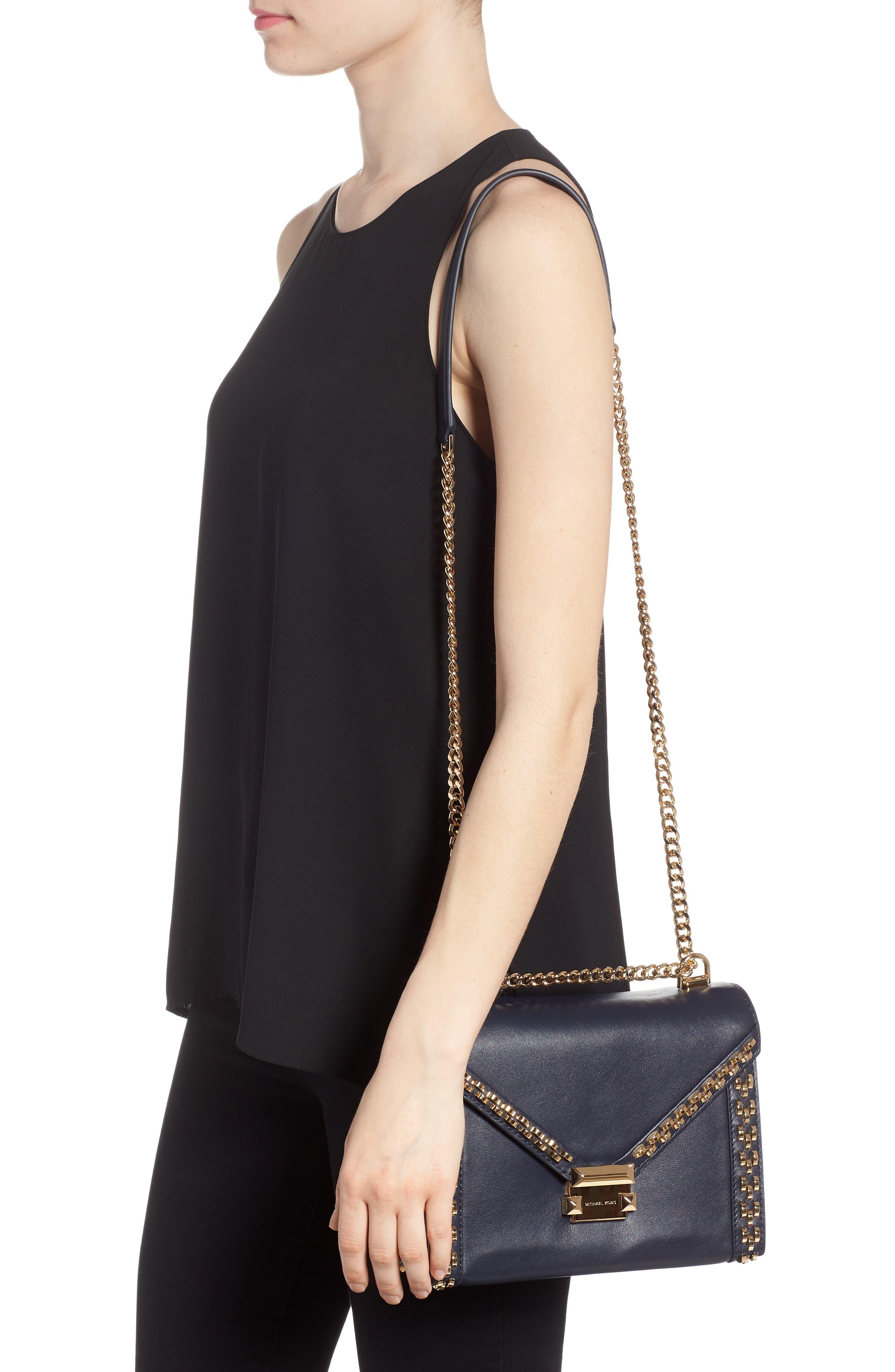 Large Embellished Leather Shoulder Bag,                             Alternate thumbnail 2, color,                             Admiral