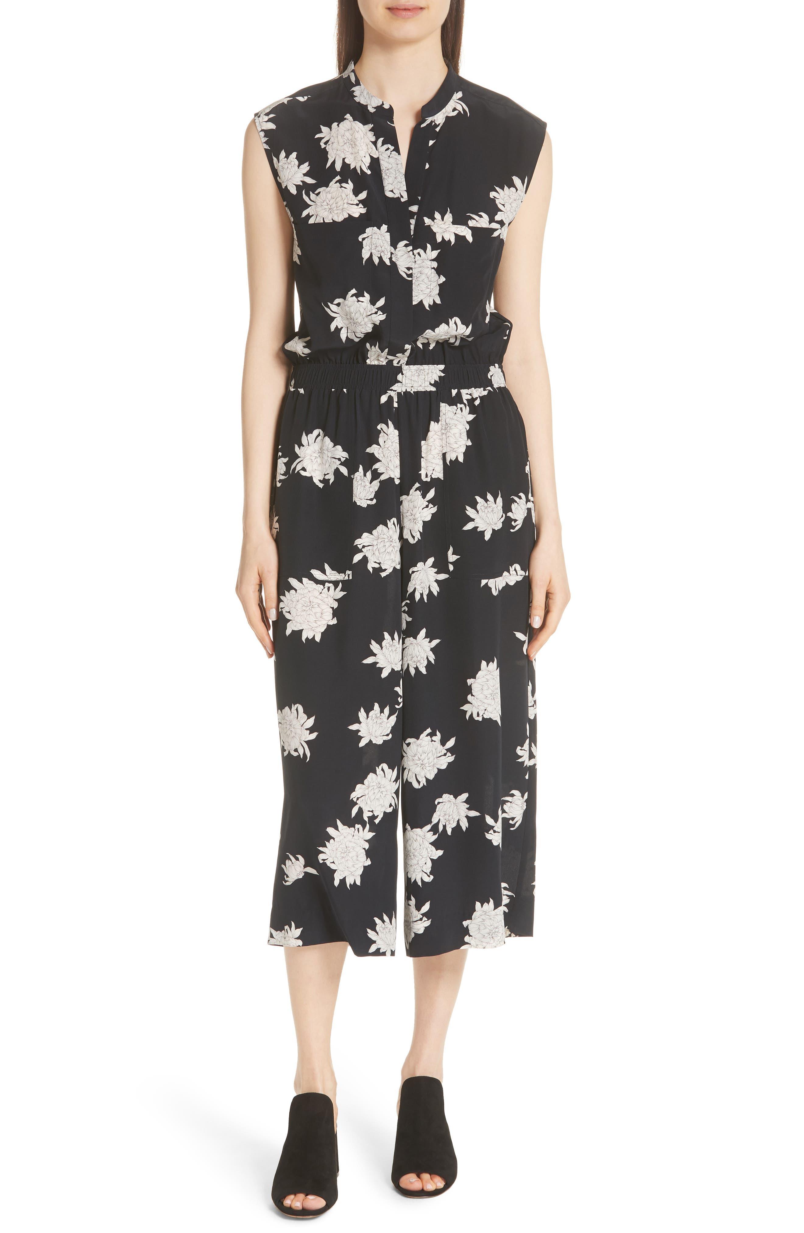 Chrysanthemum Print Silk Jumpsuit,                         Main,                         color, Coastal