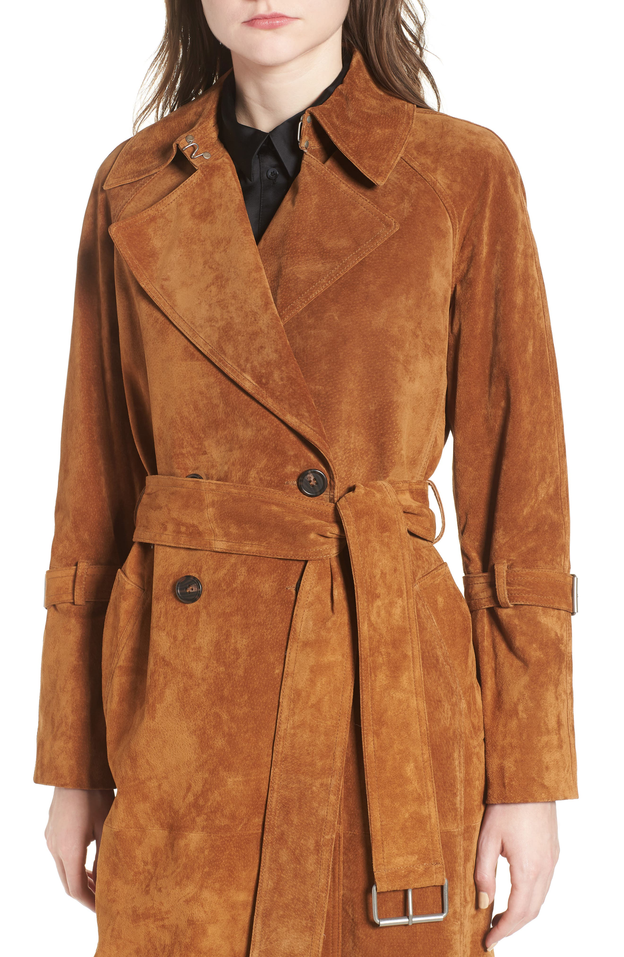 Genuine Suede Trench Coat,                             Alternate thumbnail 4, color,                             Brandy