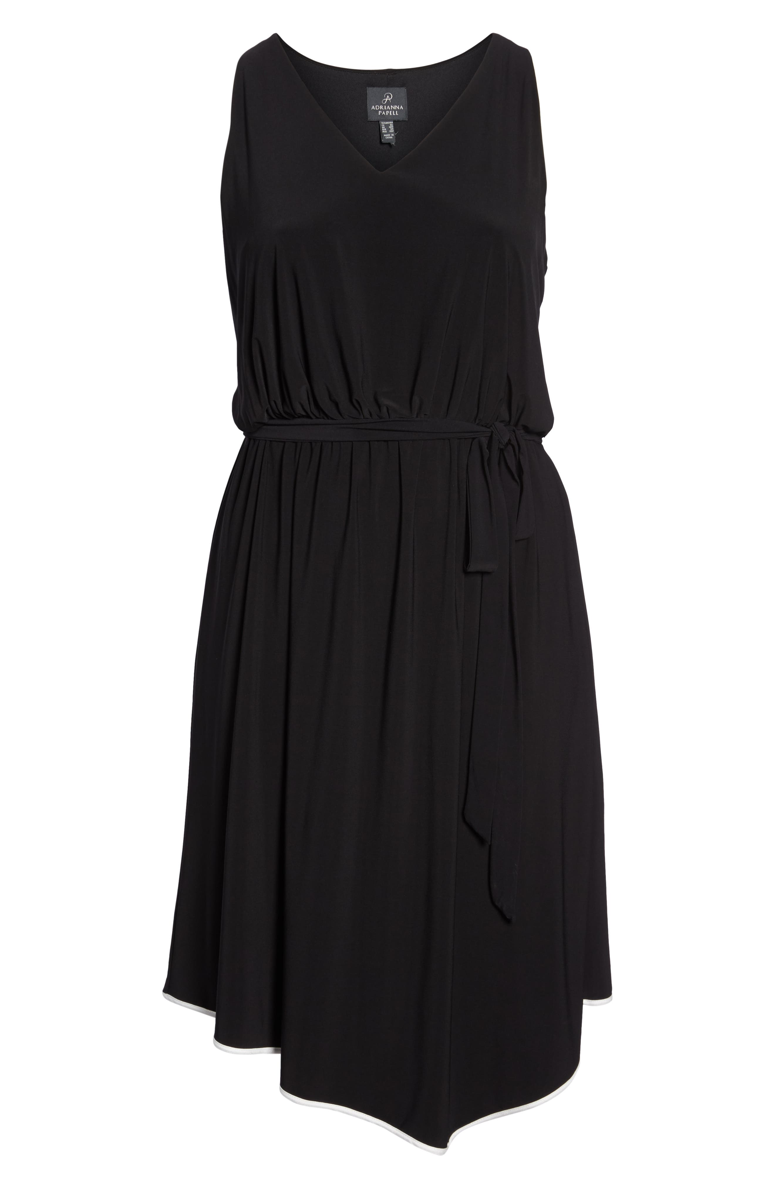 Matte Jersey Handkerchief Hem Dress,                             Alternate thumbnail 7, color,                             Black
