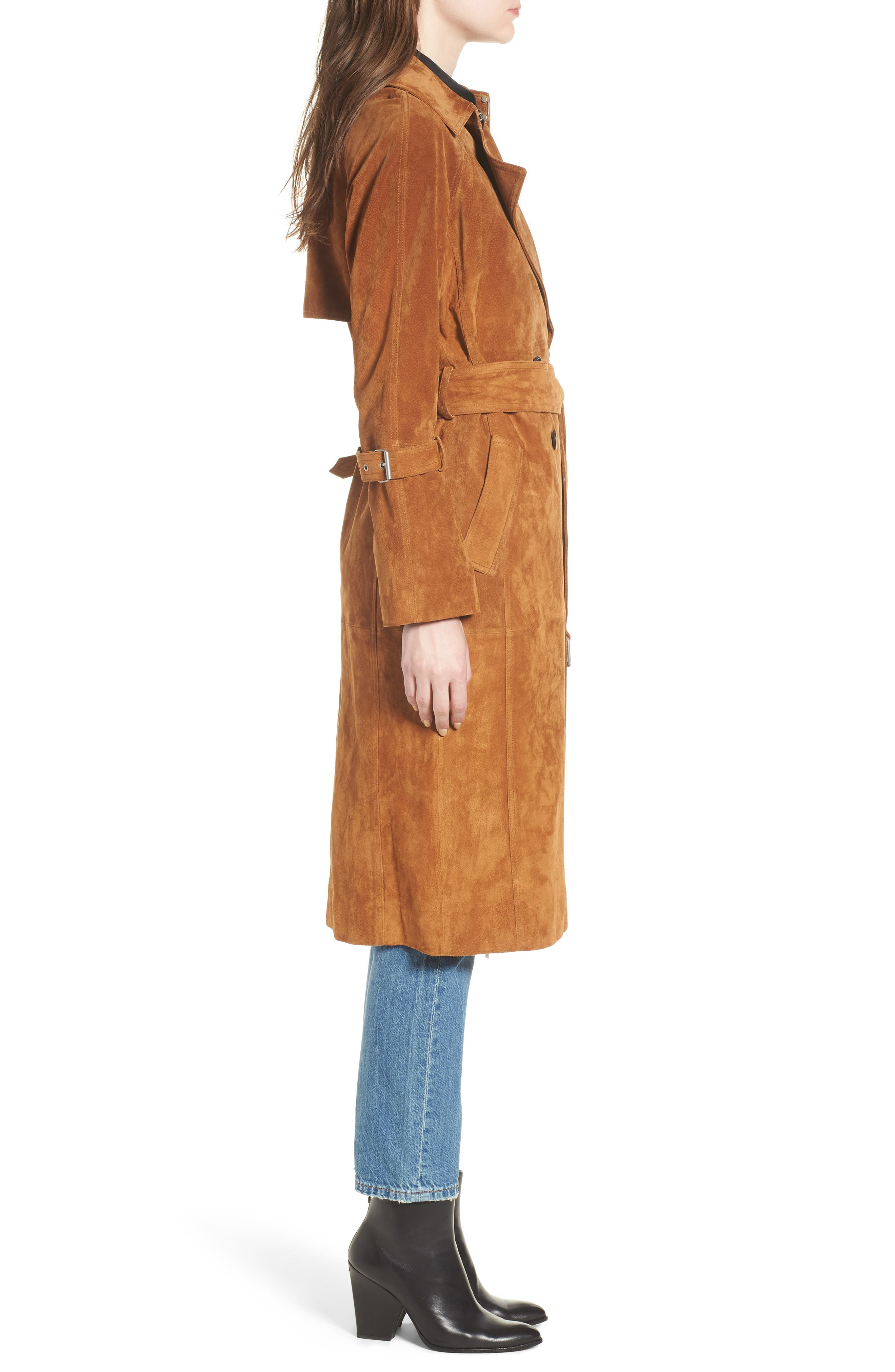 Genuine Suede Trench Coat,                             Alternate thumbnail 3, color,                             Brandy