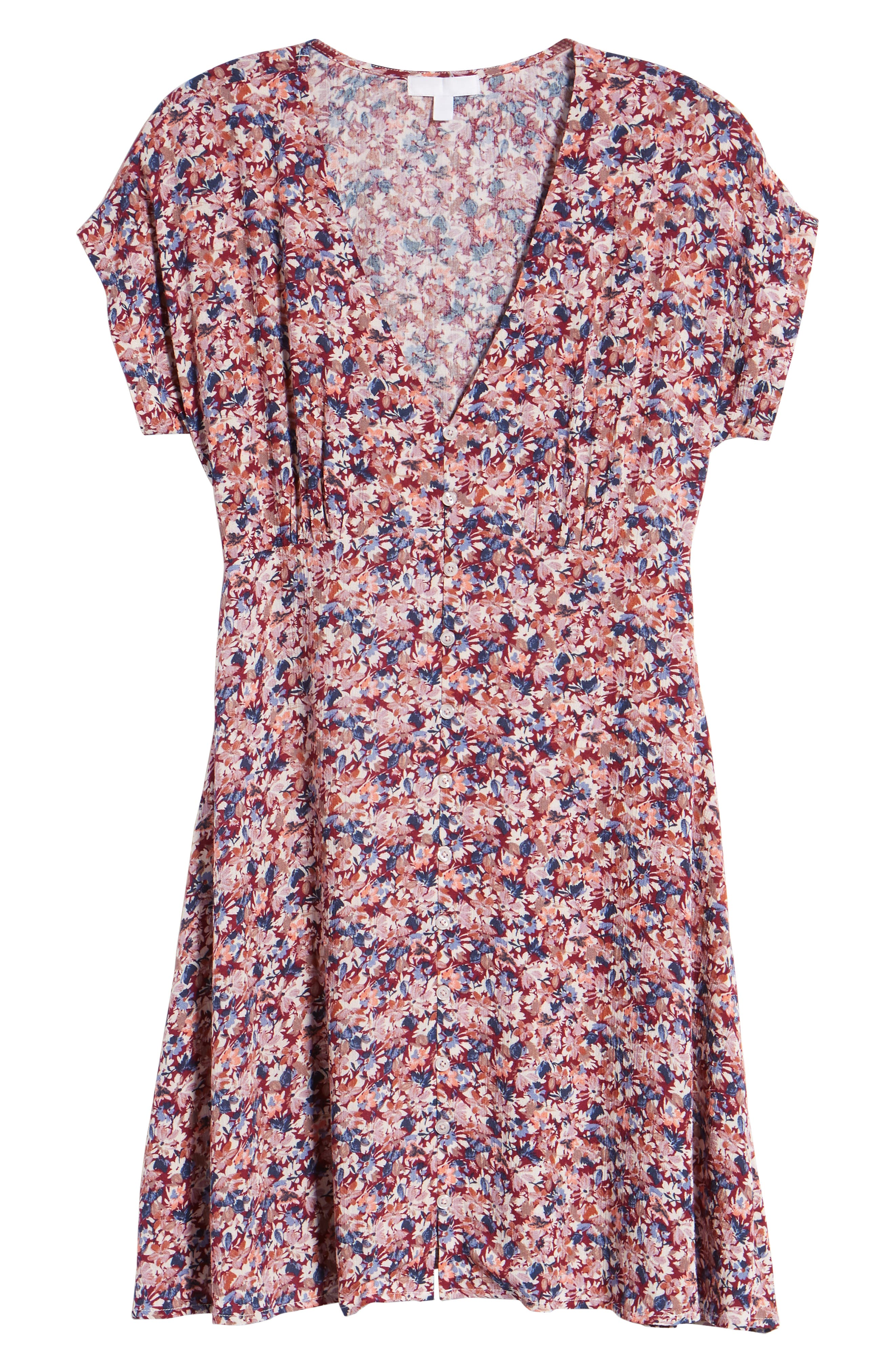 Floral Print Button Front Dress,                             Alternate thumbnail 7, color,                             Pink Floral