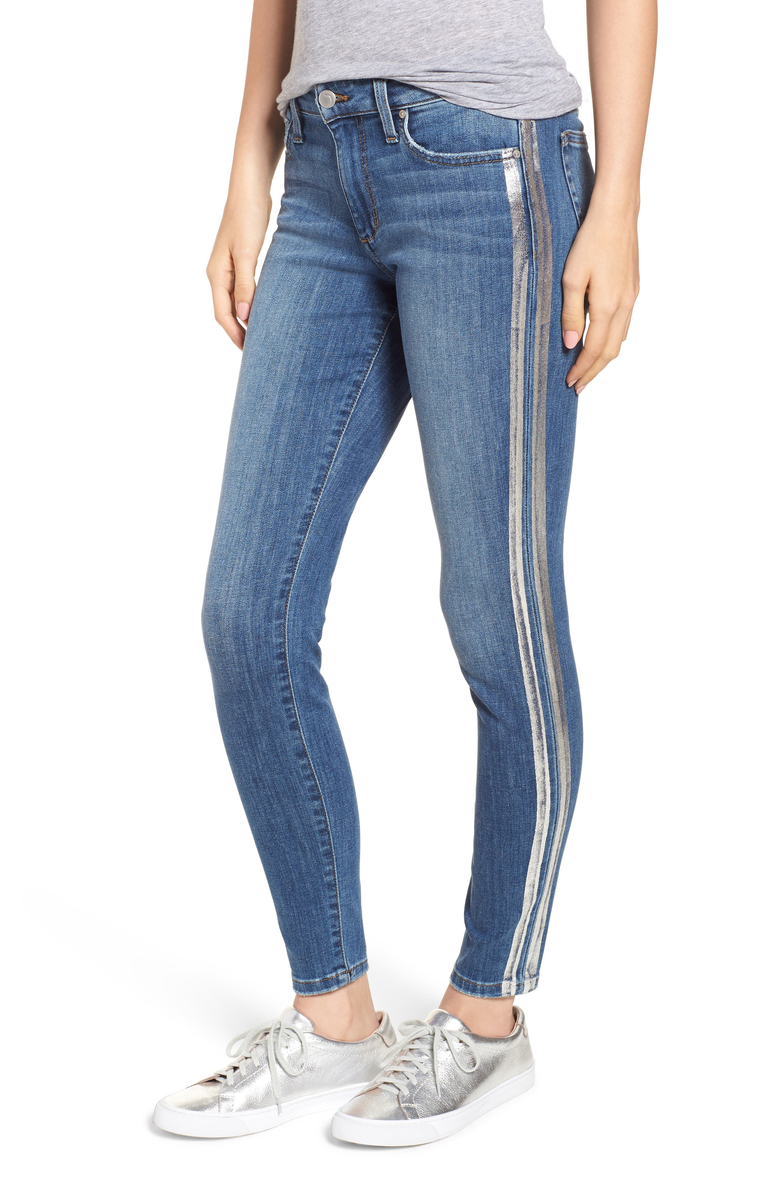 Joe's Icon Metallic Stripe Ankle Skinny Jeans (Sylvia)