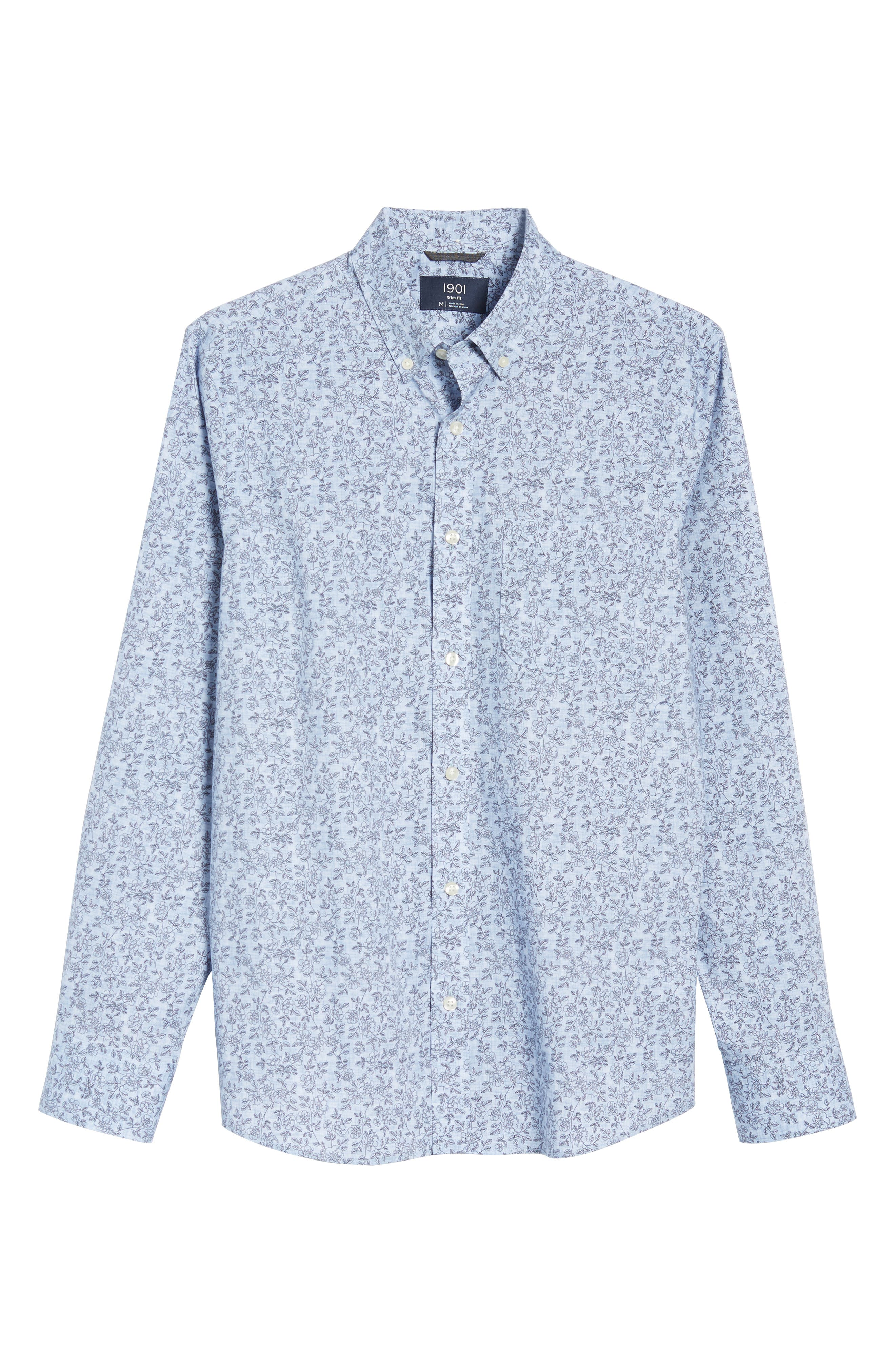 Trim Fit Chambray Floral Print Sport Shirt,                             Alternate thumbnail 6, color,                             Chambray Flower Print