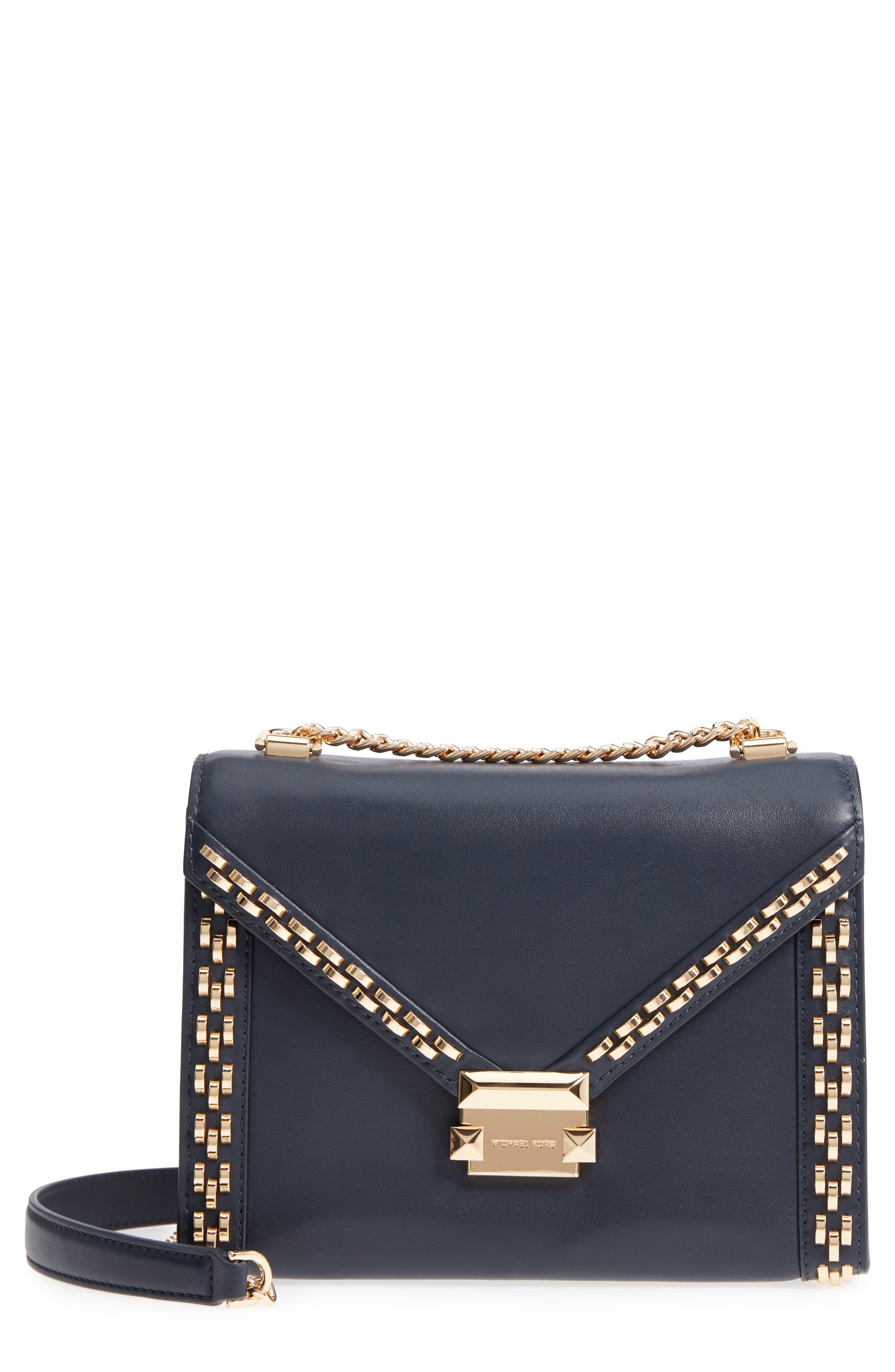 Large Embellished Leather Shoulder Bag,                         Main,                         color, Admiral