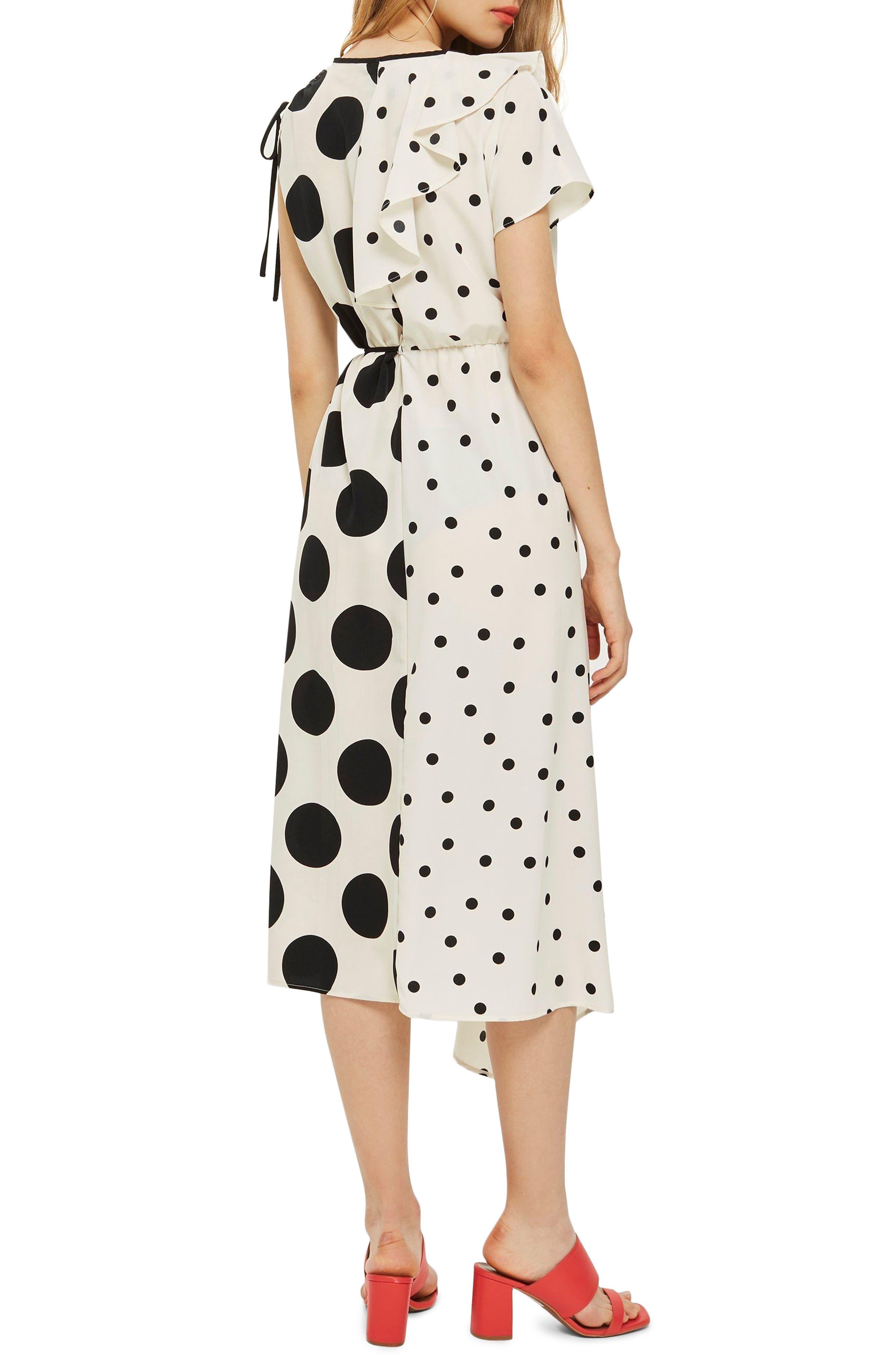 Mix Spot Midi Wrap Dress,                             Alternate thumbnail 2, color,                             White Multi