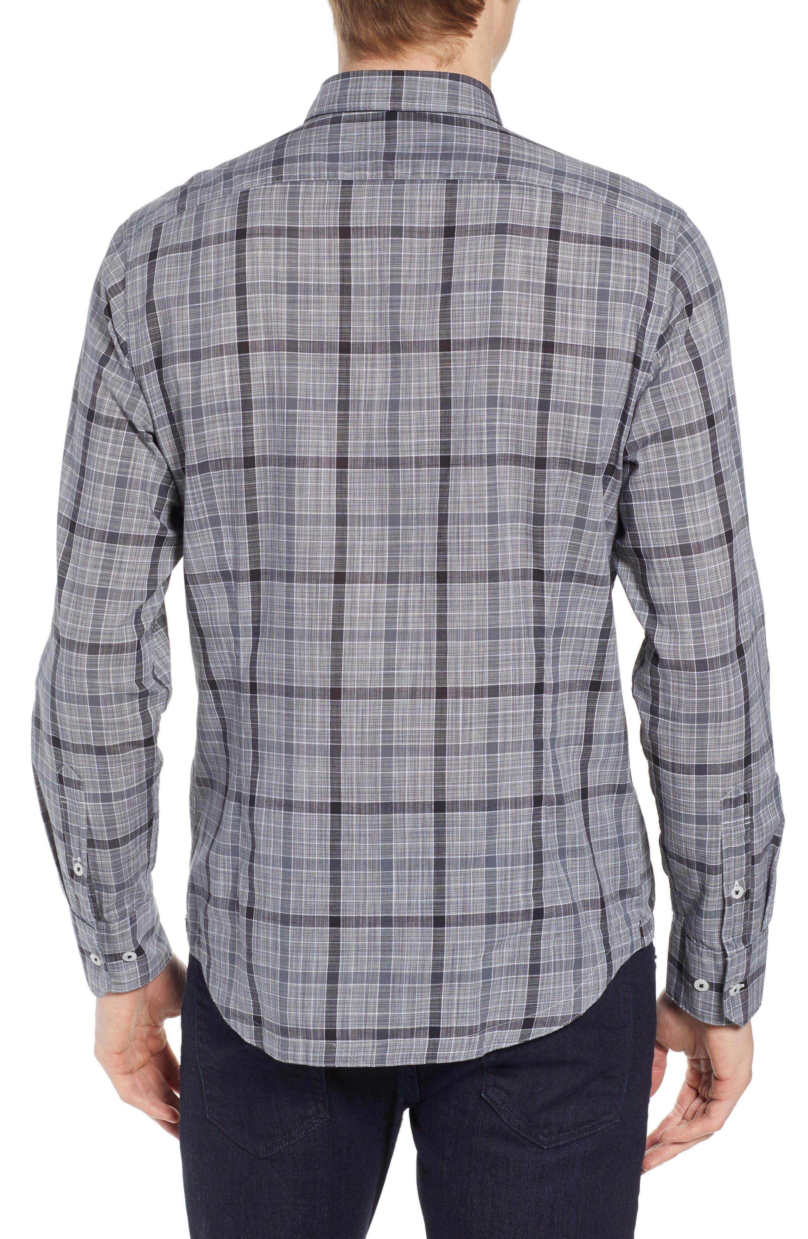 Plaid Sport Shirt,                             Alternate thumbnail 3, color,                             Black