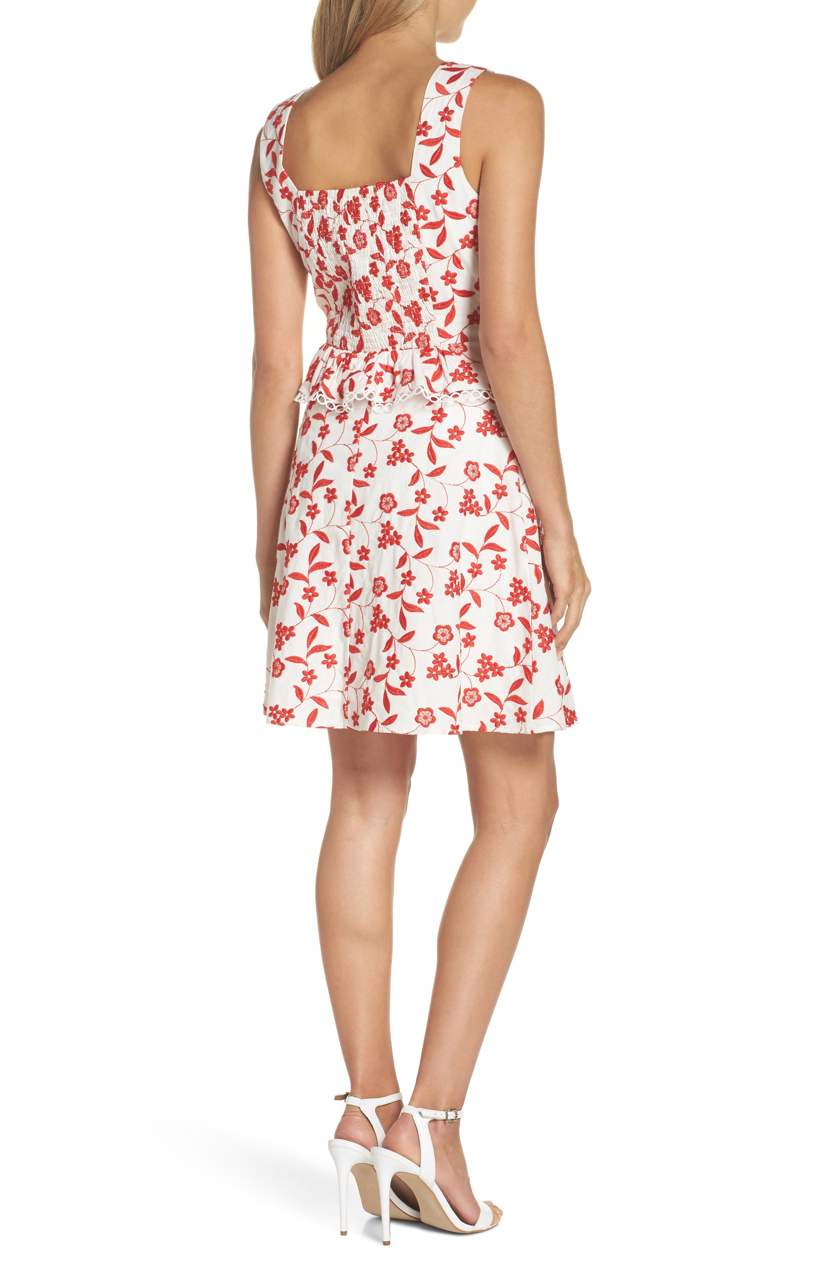 Aubrey Embroidered Cotton Dress,                             Alternate thumbnail 2, color,                             Flame