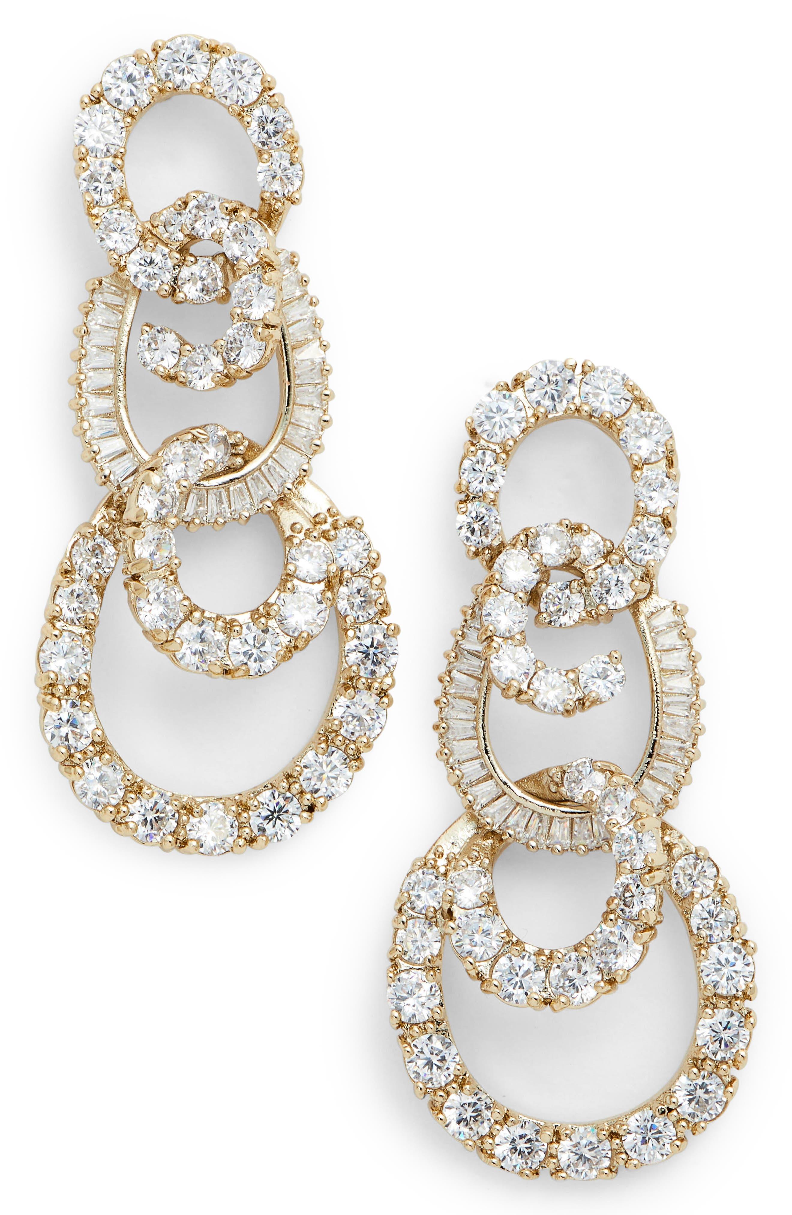 3-Tier Swirl Drop Earrings,                         Main,                         color, White/ Gold
