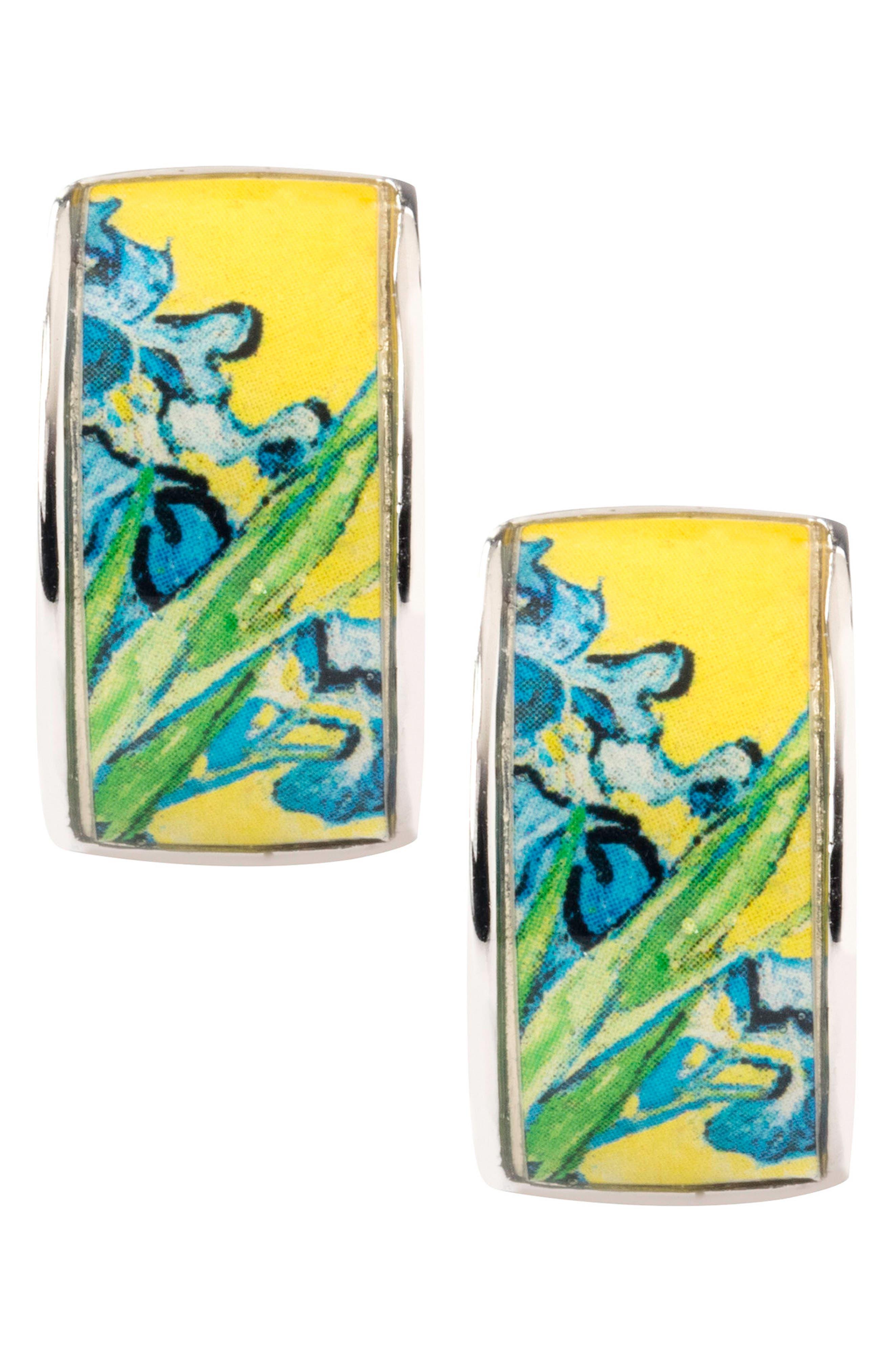 Silvertone Irises Earrings,                             Alternate thumbnail 4, color,                             Blue/ Silver