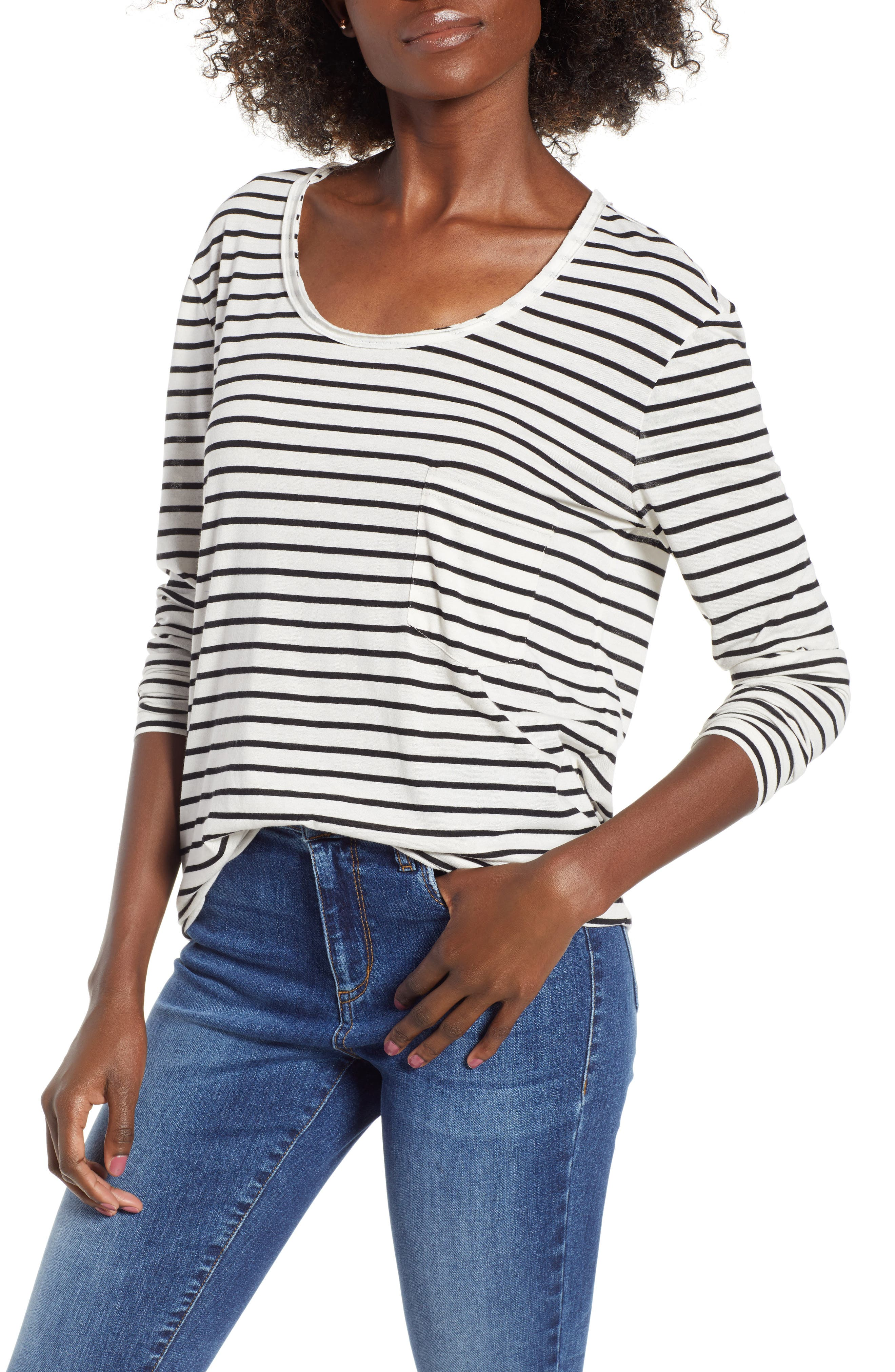 Raw Edge Scoop Neck Tee,                             Main thumbnail 1, color,                             Ivory Liz Stripe