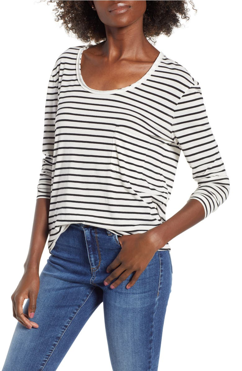Raw Edge Scoop Neck Tee,                         Main,                         color, Ivory Liz Stripe