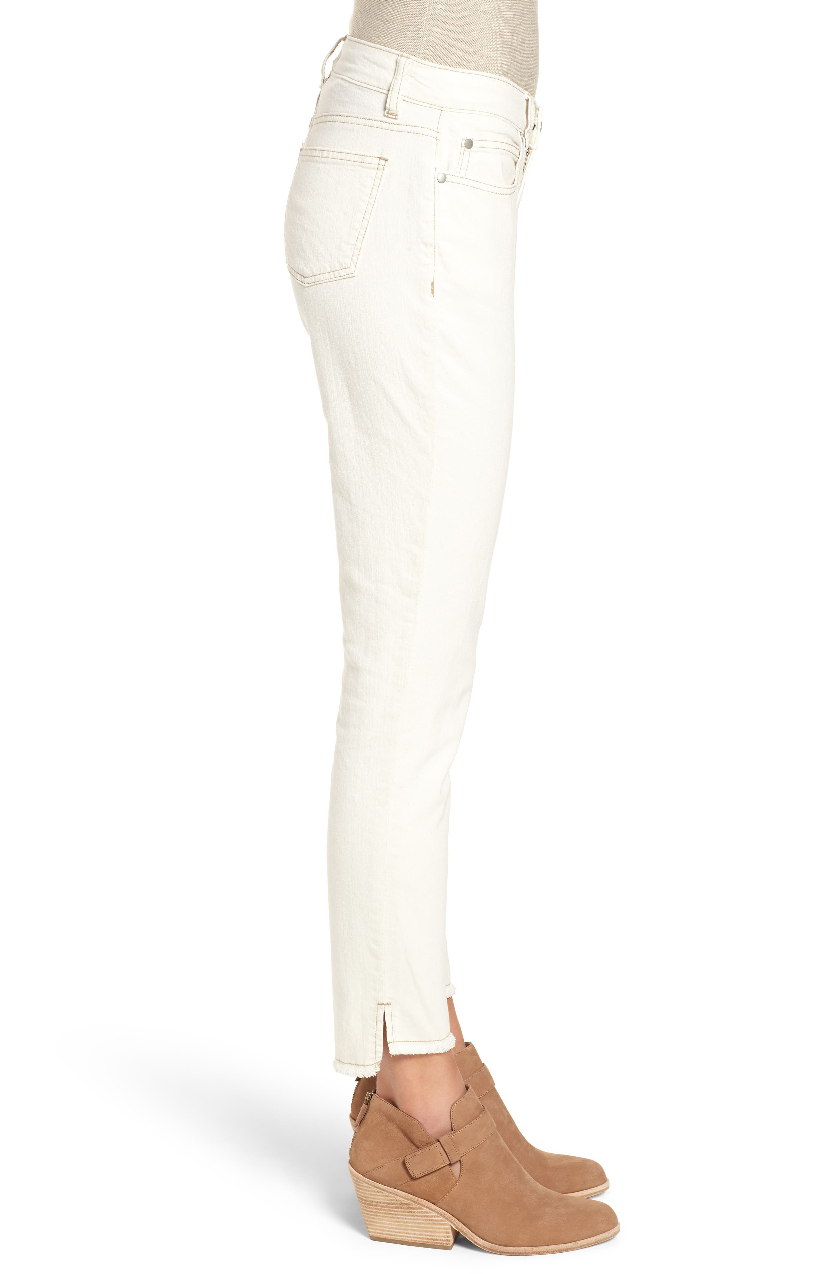 Stretch Organic Cotton Slim Ankle Jeans,                             Alternate thumbnail 3, color,                             Undyed Natural