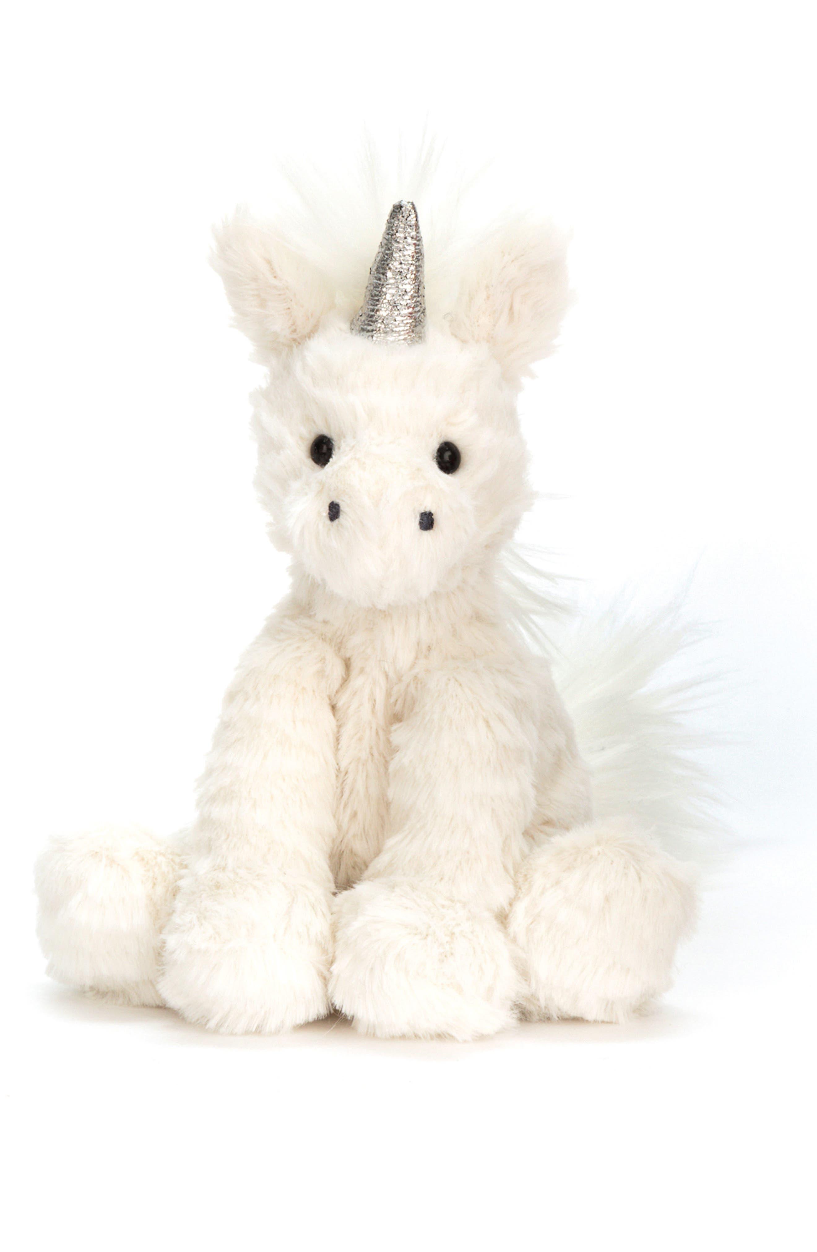 Fuddlewuddle Baby Unicorn Stuffed Animal,                             Main thumbnail 1, color,                             White