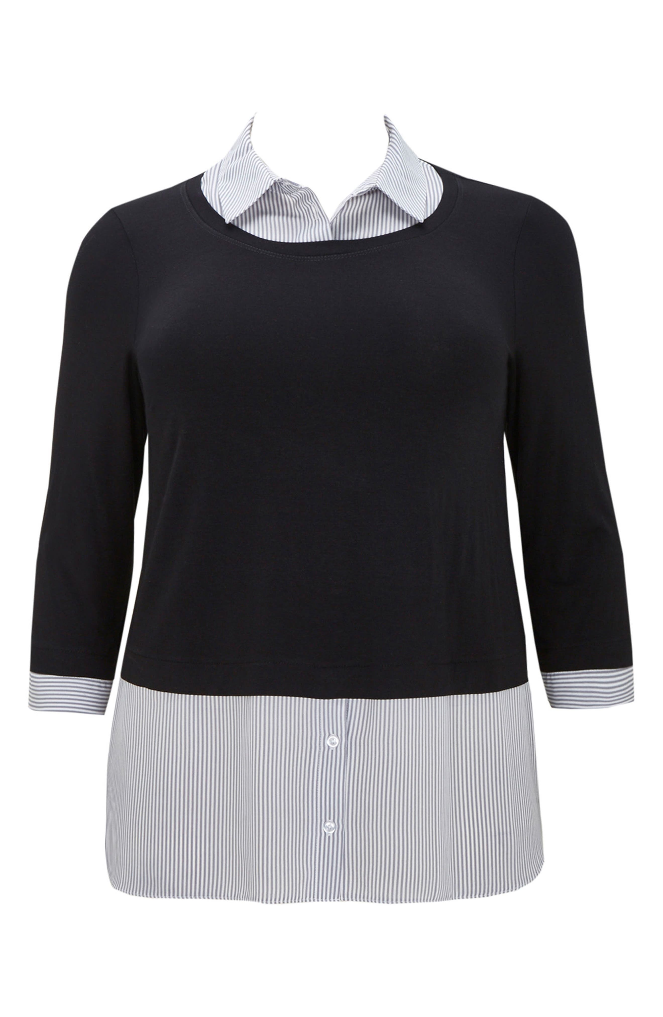 Stripe & Solid 2-in-1 Shirt,                             Alternate thumbnail 4, color,                             Dark Multi