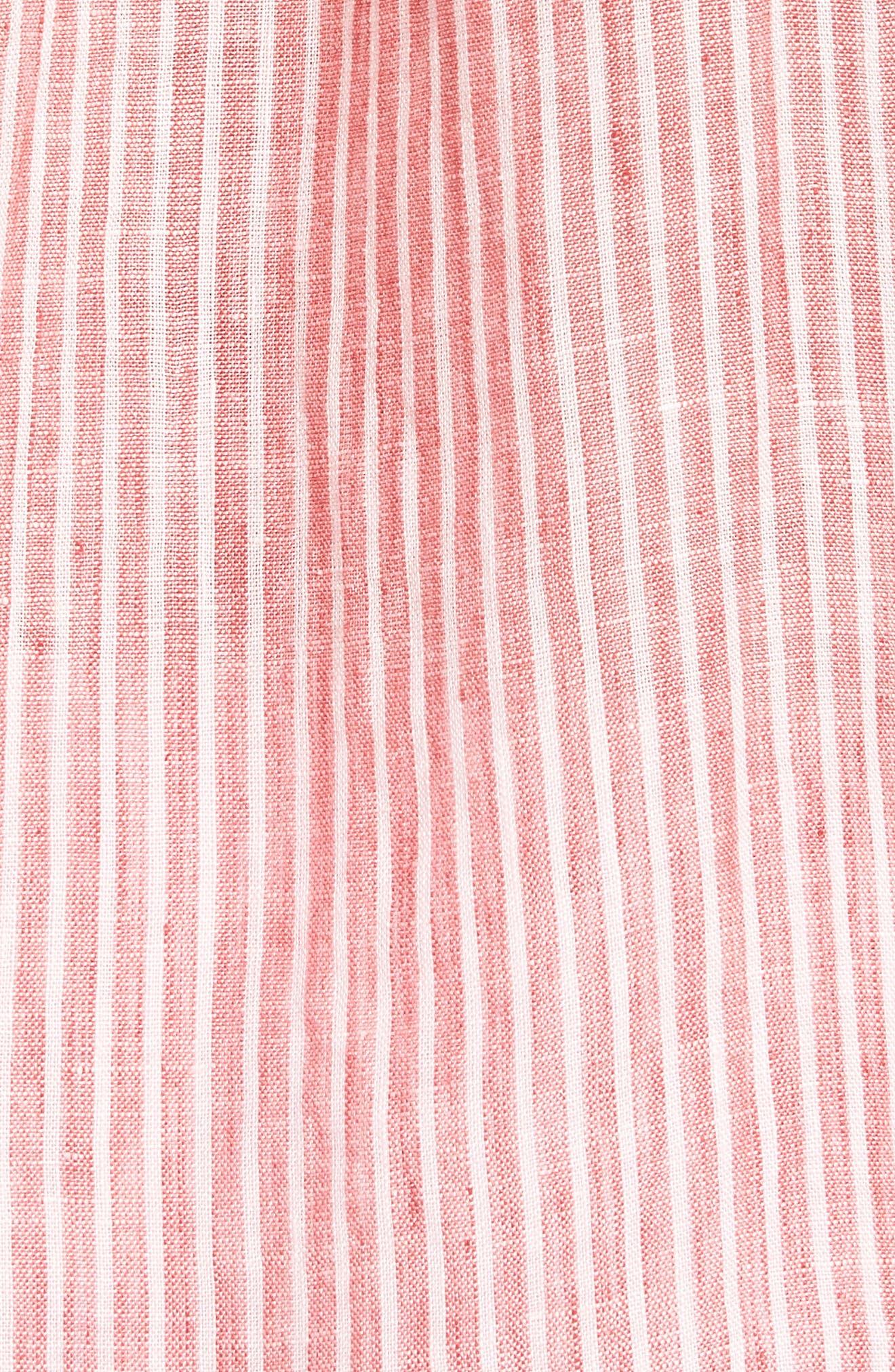 Warwick Junction Stripe Linen Sport Shirt,                             Alternate thumbnail 5, color,                             Coral