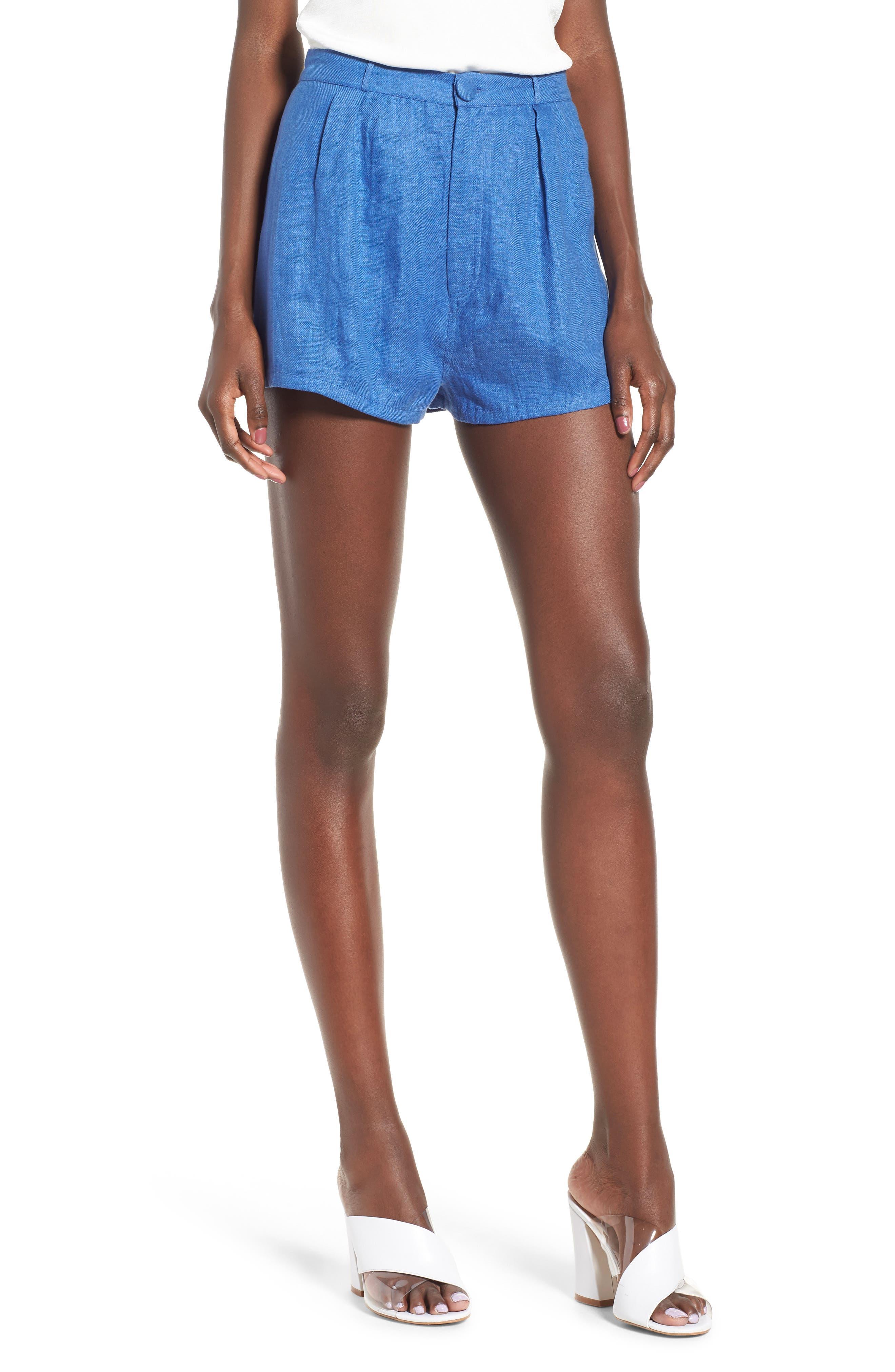 Jordy High Waist Shorts,                             Main thumbnail 1, color,                             Blue