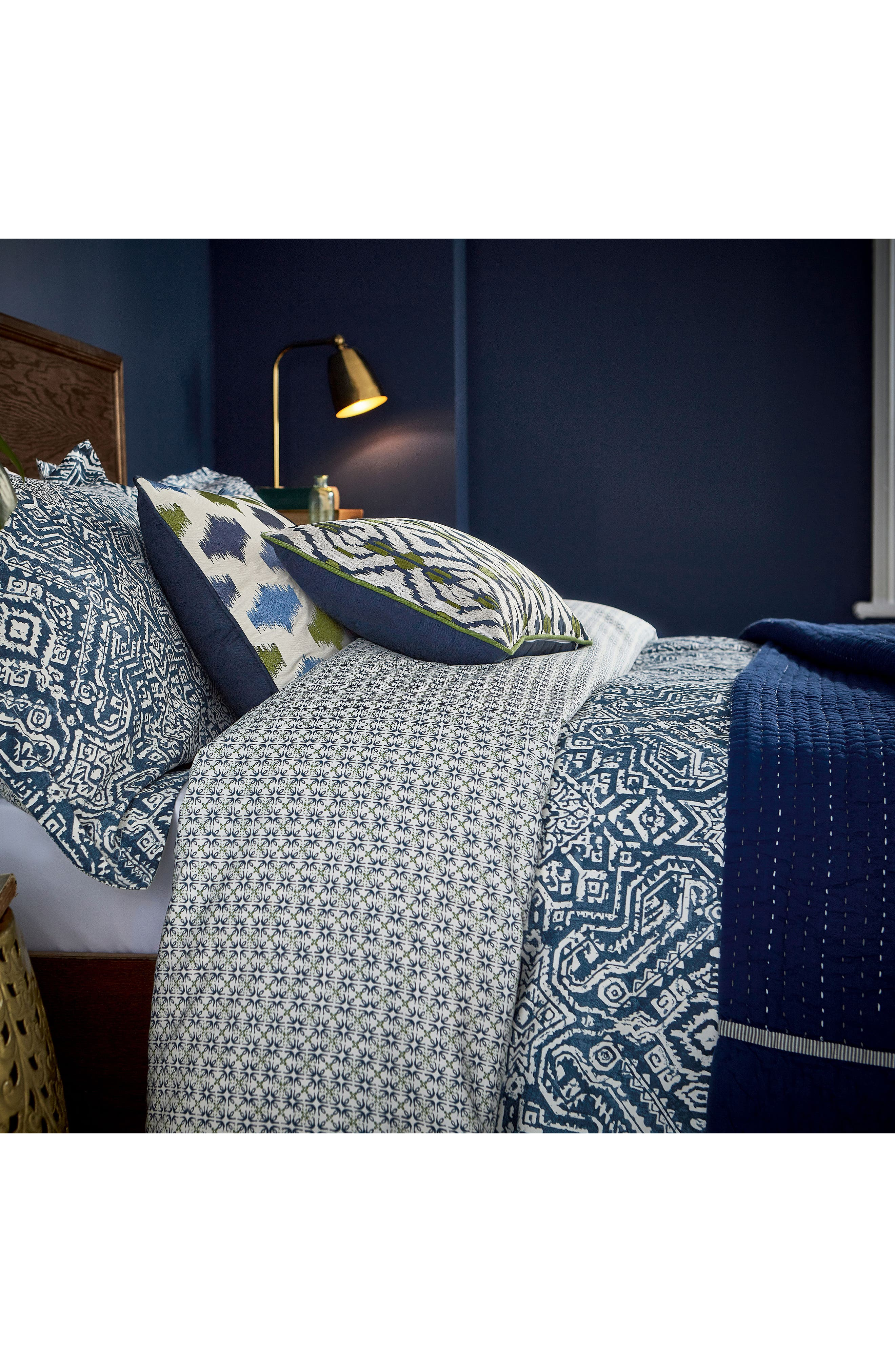 Ila Hand Stitched Kantha Quilt,                             Alternate thumbnail 2, color,                             Navy