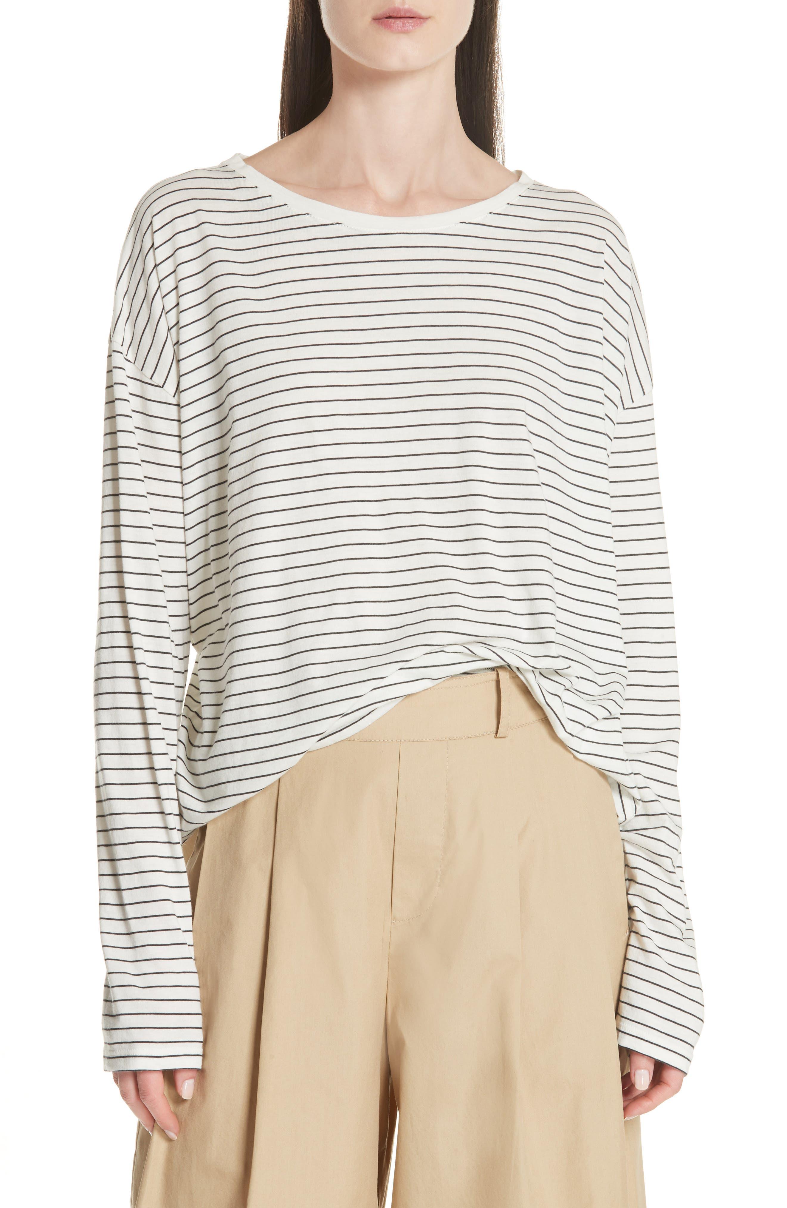 Pencil Stripe Pima Cotton Pullover Top,                             Main thumbnail 1, color,                             Vanilla/ Iron