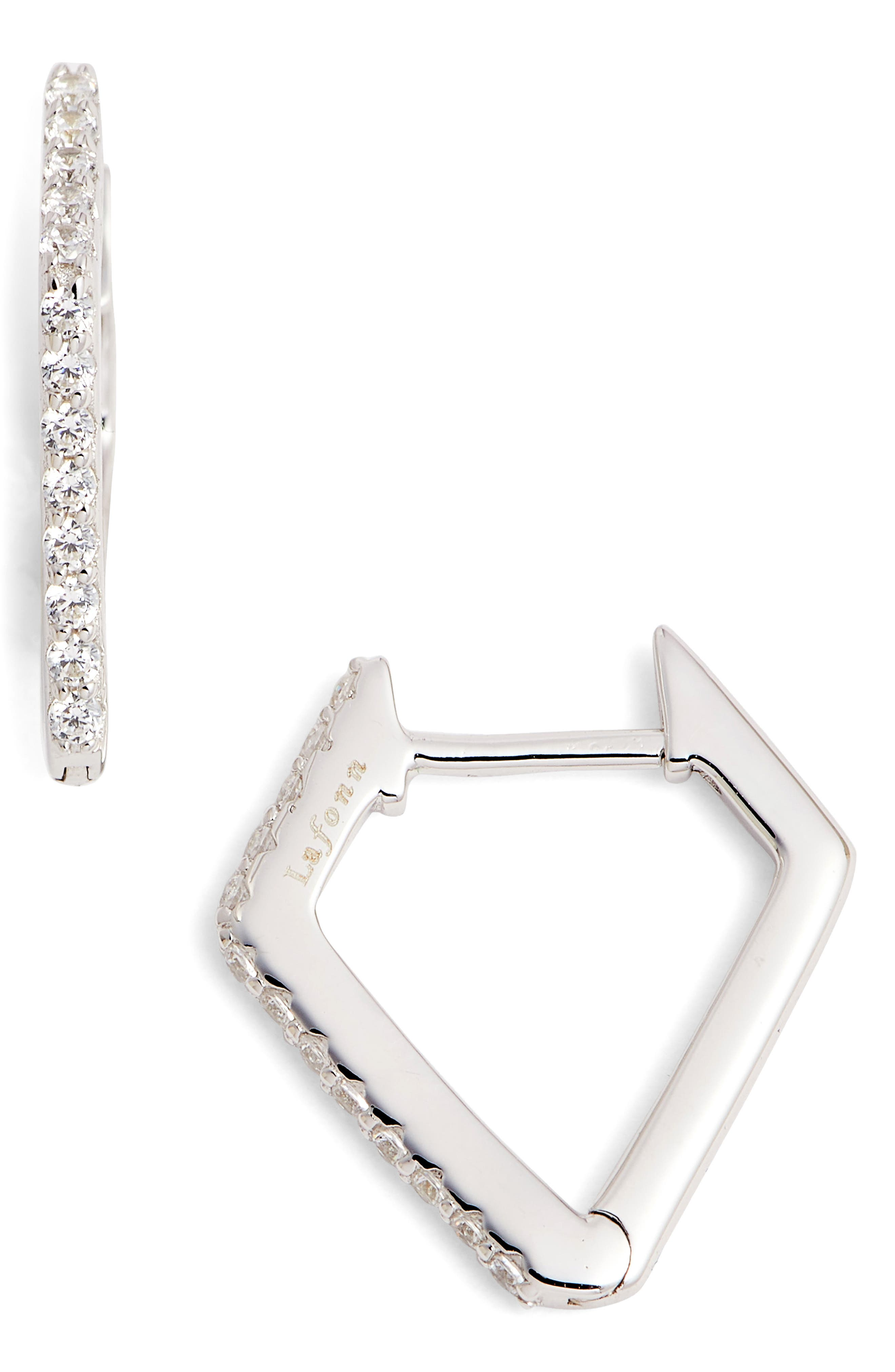 Diamond-Shaped Hoop Earrings,                         Main,                         color, Silver/ Clear