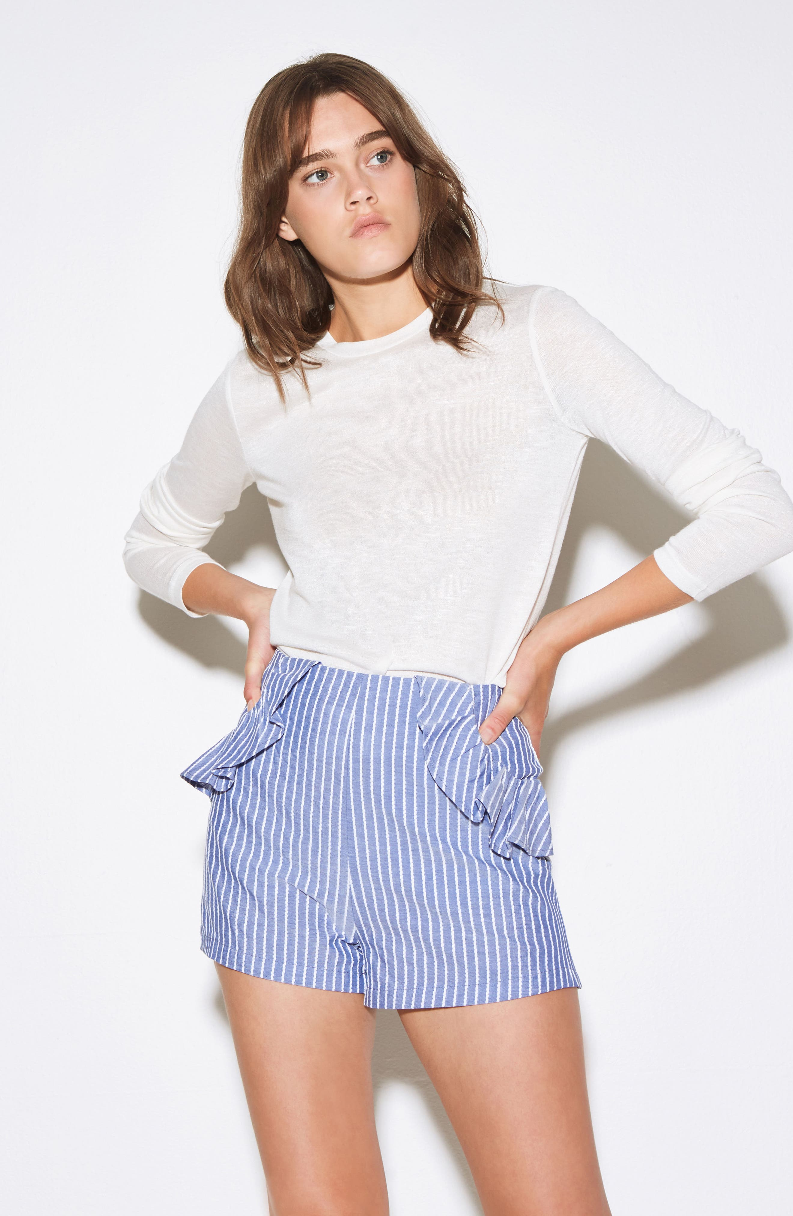 Parcel Ruffle Detail Shorts,                             Alternate thumbnail 2, color,                             Blue With White