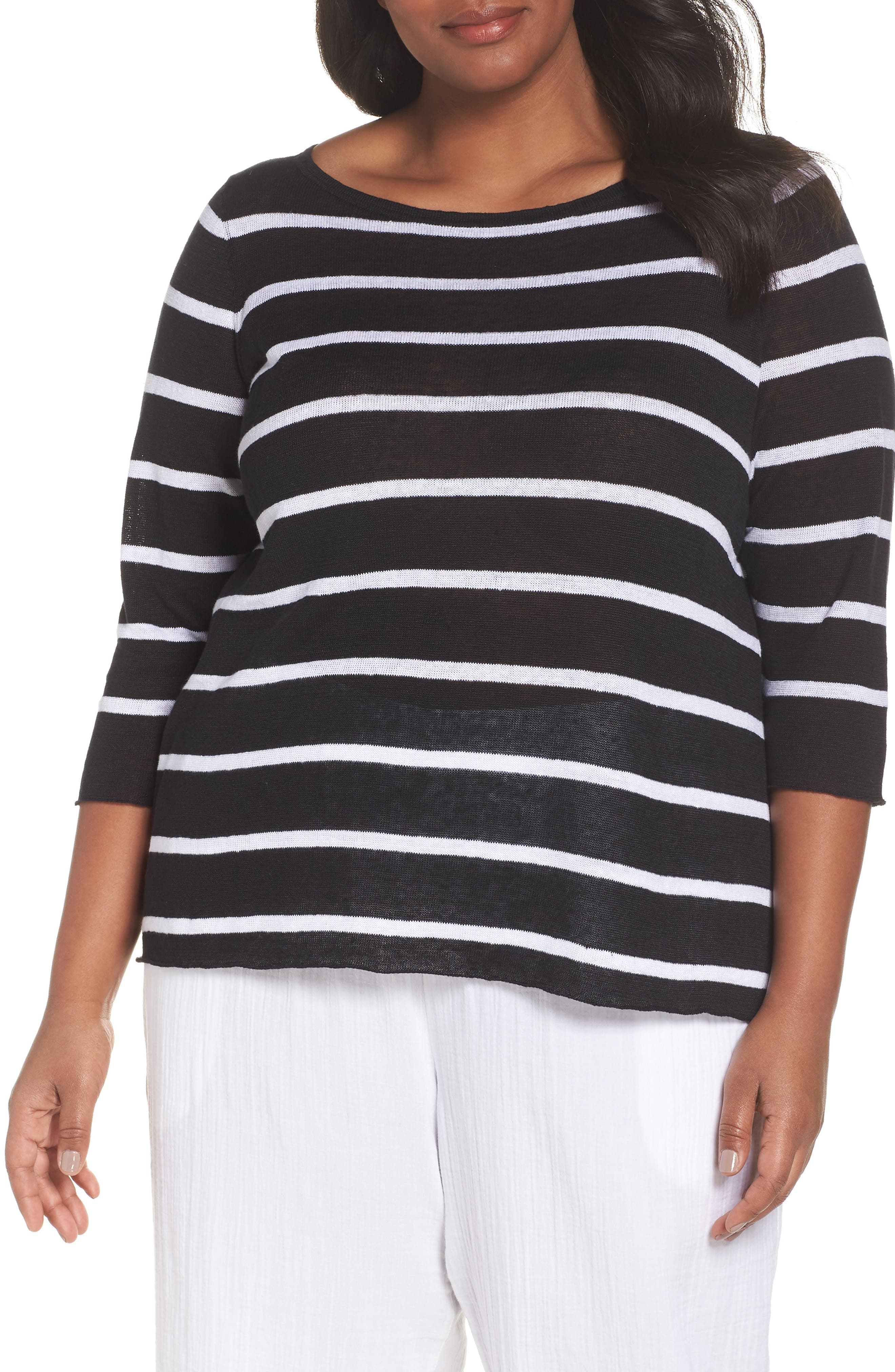 Bateau Neck Stripe Linen Top,                             Main thumbnail 1, color,                             Black/ White