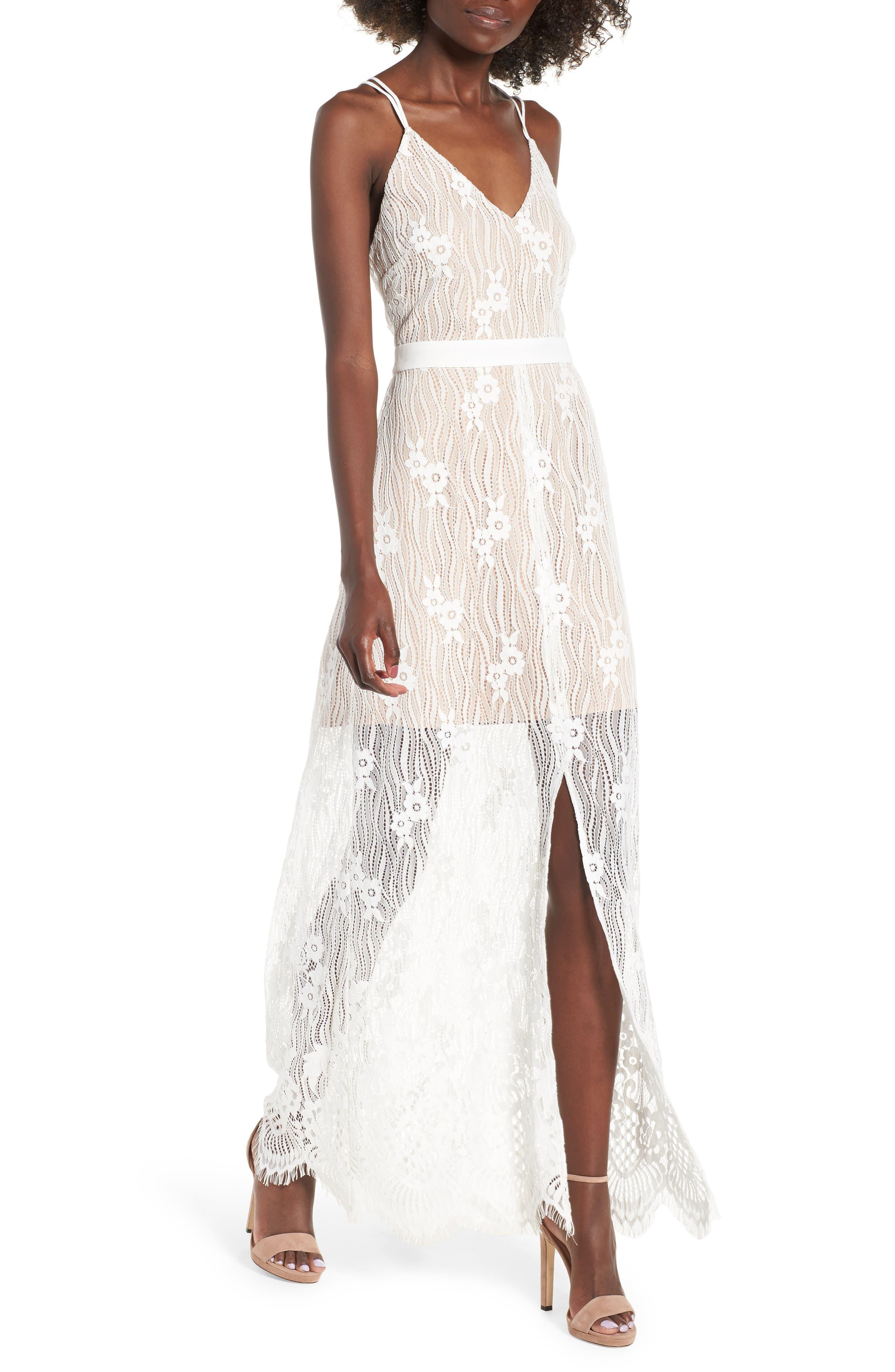 Blake Lace Maxi Dress,                             Main thumbnail 1, color,                             Ivory Lace