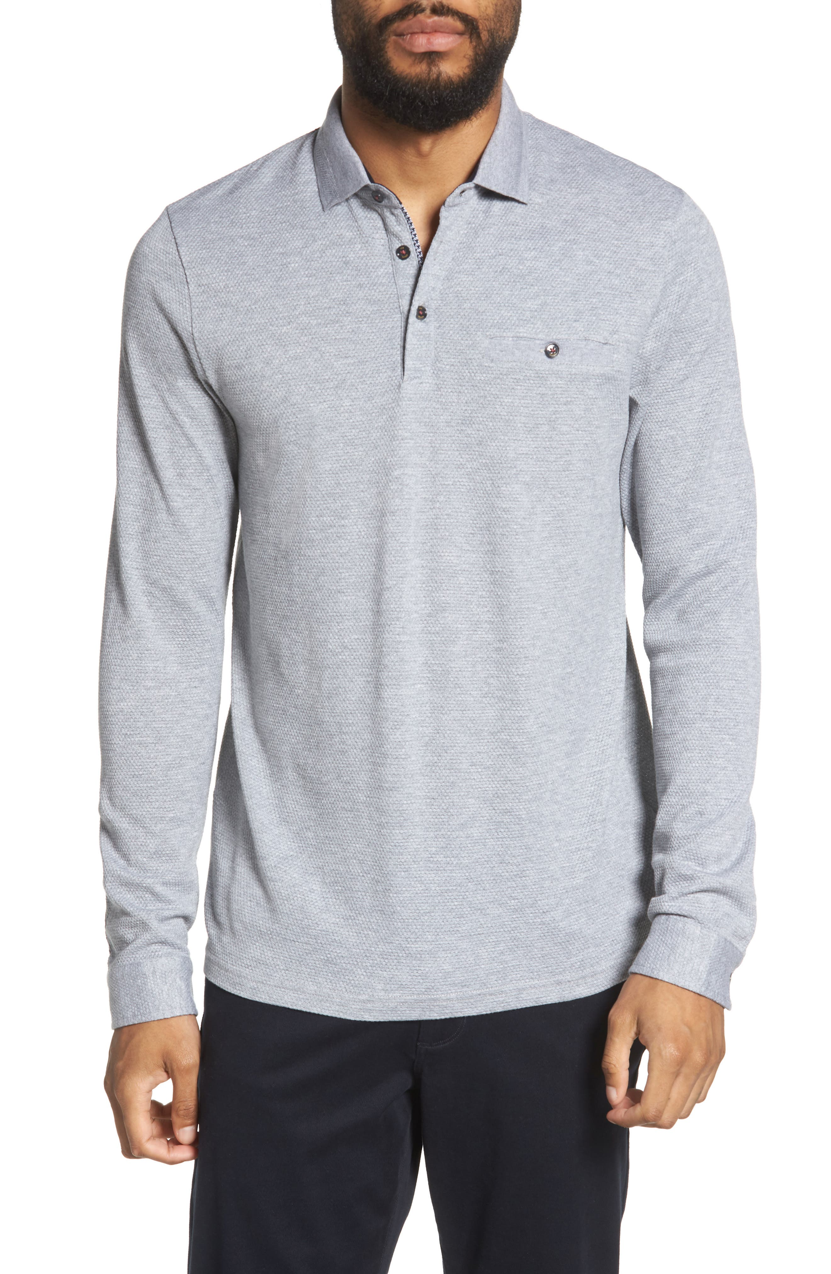 Scooby Trim Fit Long Sleeve Polo Shirt,                             Main thumbnail 1, color,                             Grey Marl