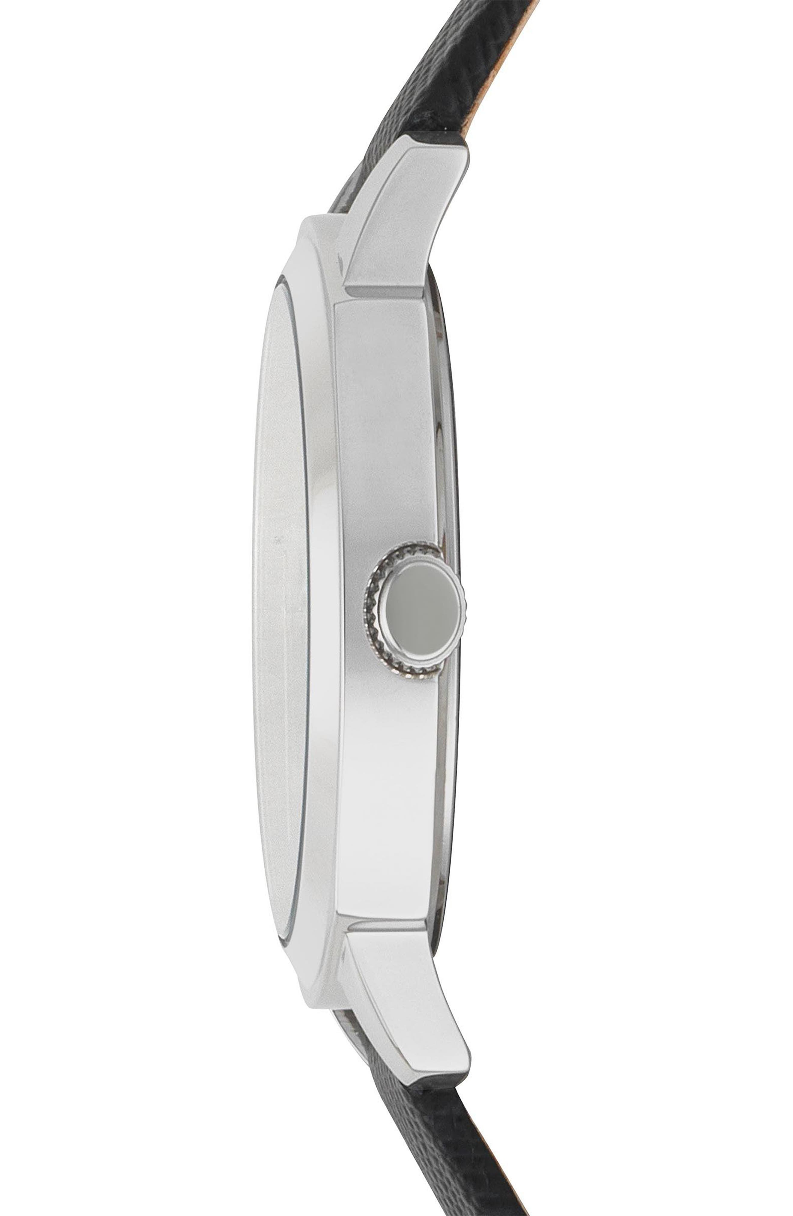 VERSUS by Versace Chelsea Leather Strap Watch, 34mm,                             Alternate thumbnail 2, color,                             Black/ Silver