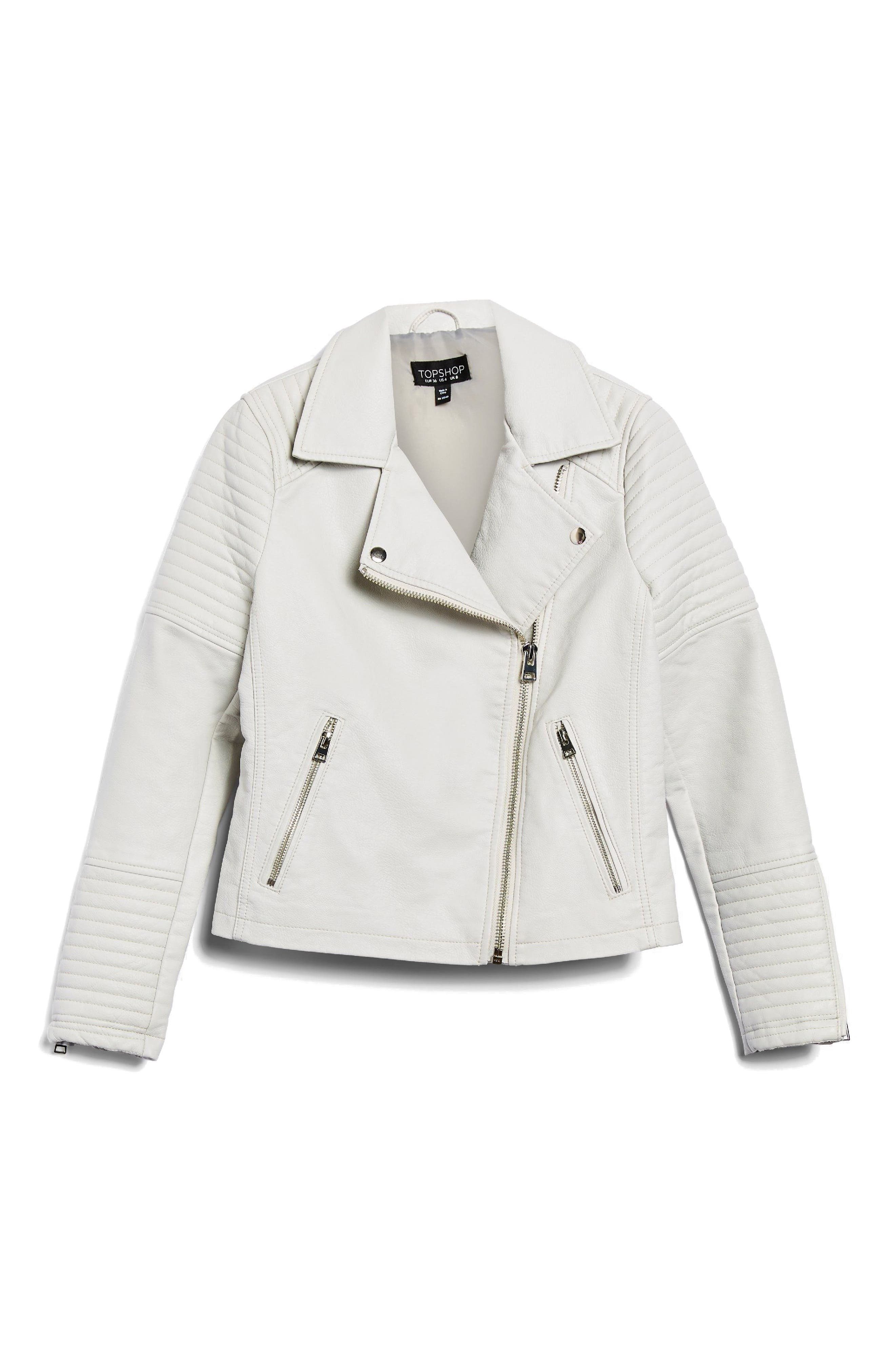 Rosa Biker Jacket,                             Alternate thumbnail 4, color,                             White
