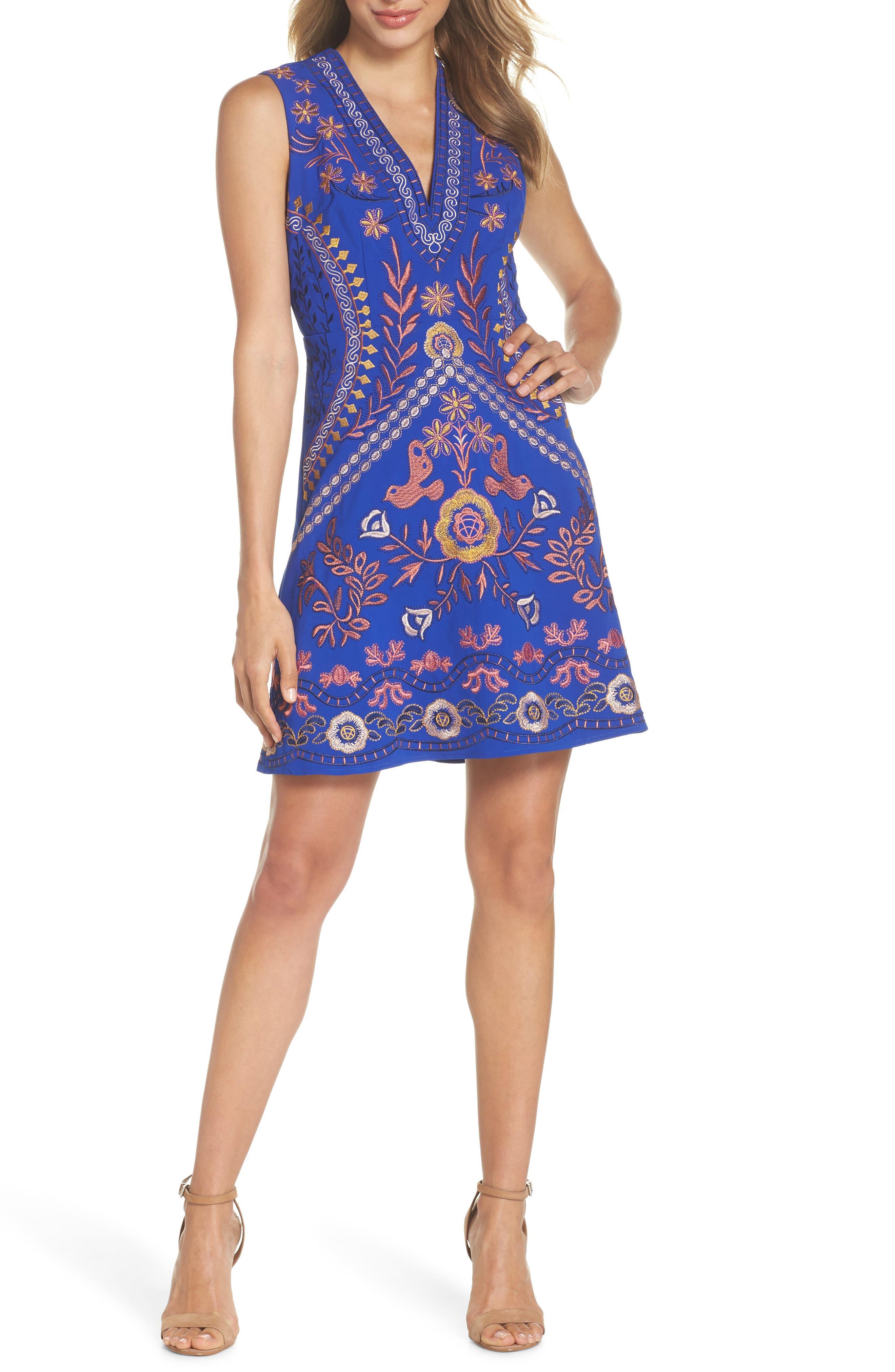 Artemesia Cutout Back Minidress,                             Main thumbnail 1, color,                             Navy Multi