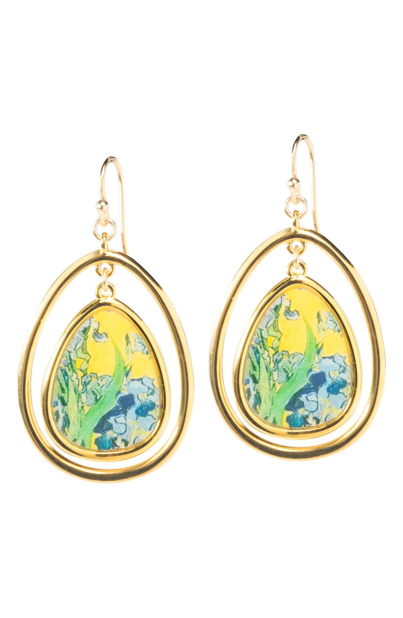 Irises Teardrop Drop Earrings,                             Alternate thumbnail 3, color,                             Yellow