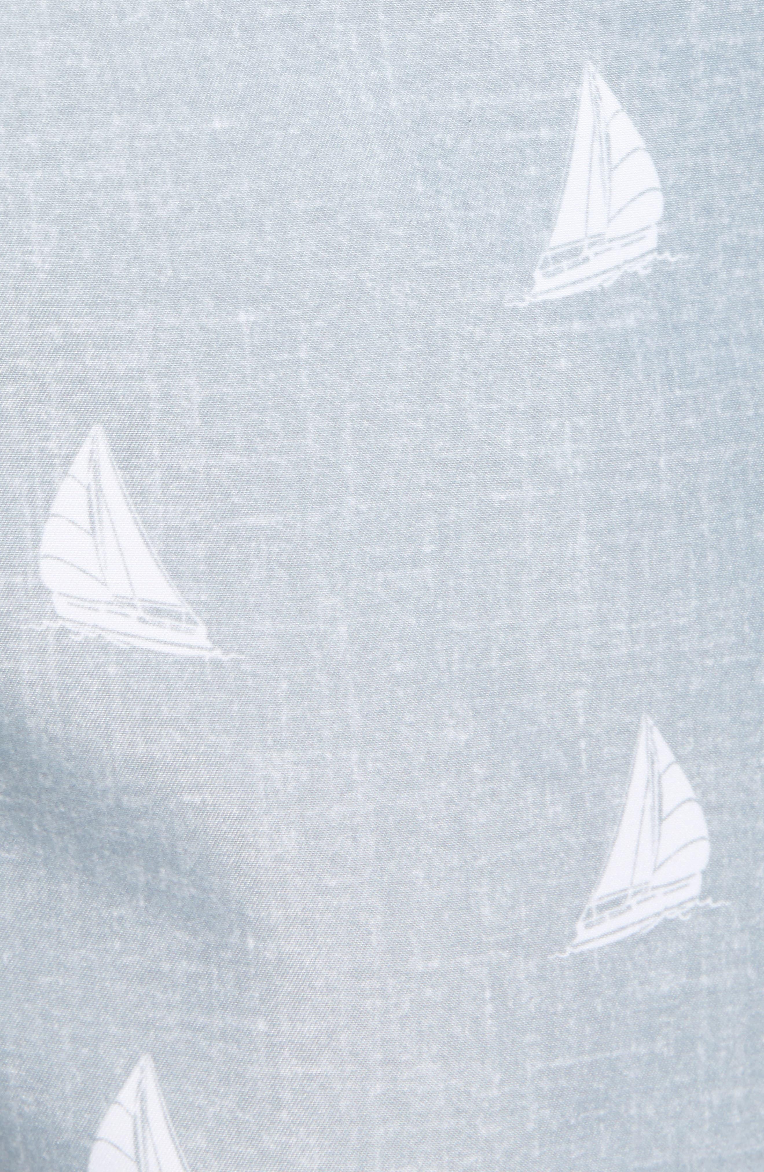 Aruba Slim Fit Swim Trunks,                             Alternate thumbnail 5, color,                             Heathered Grey Sailboats