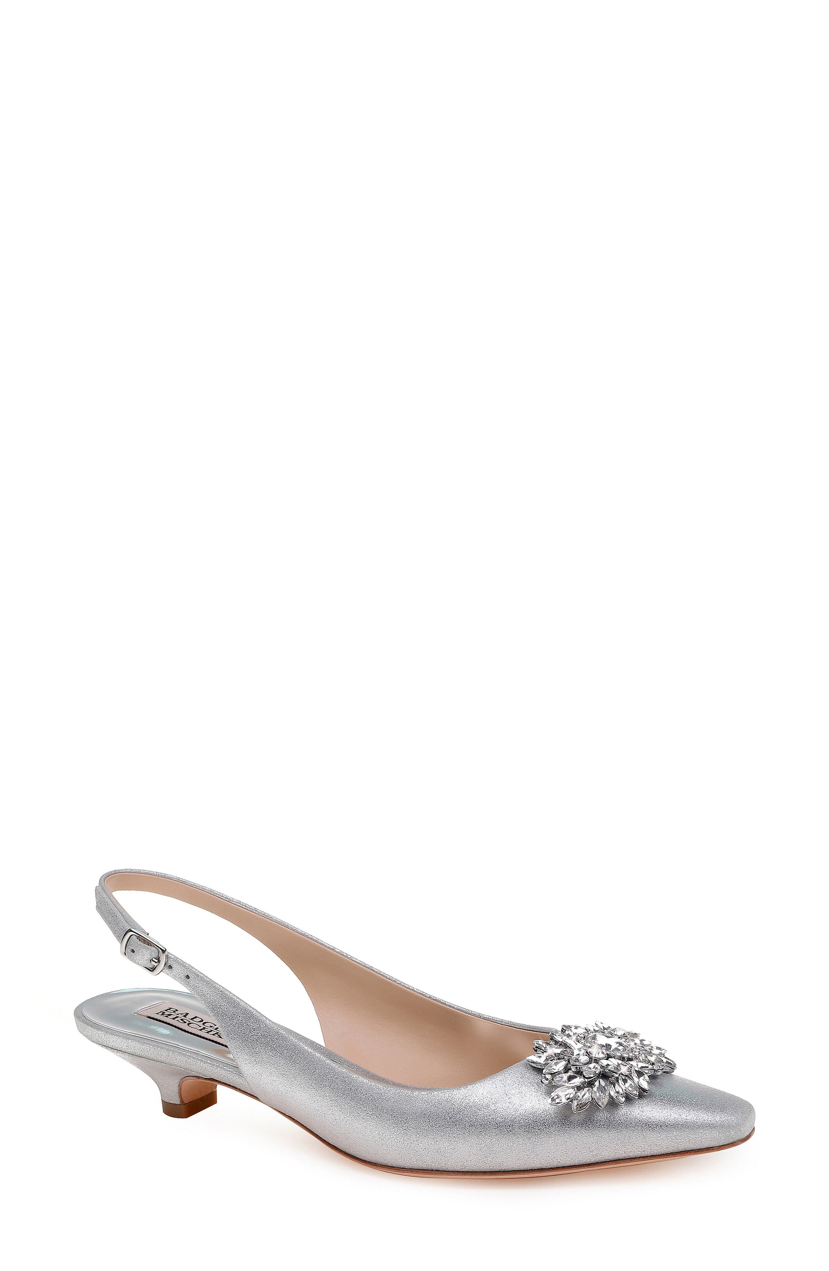 Page Slingback Pump,                             Main thumbnail 1, color,                             Silver Metallic Suede