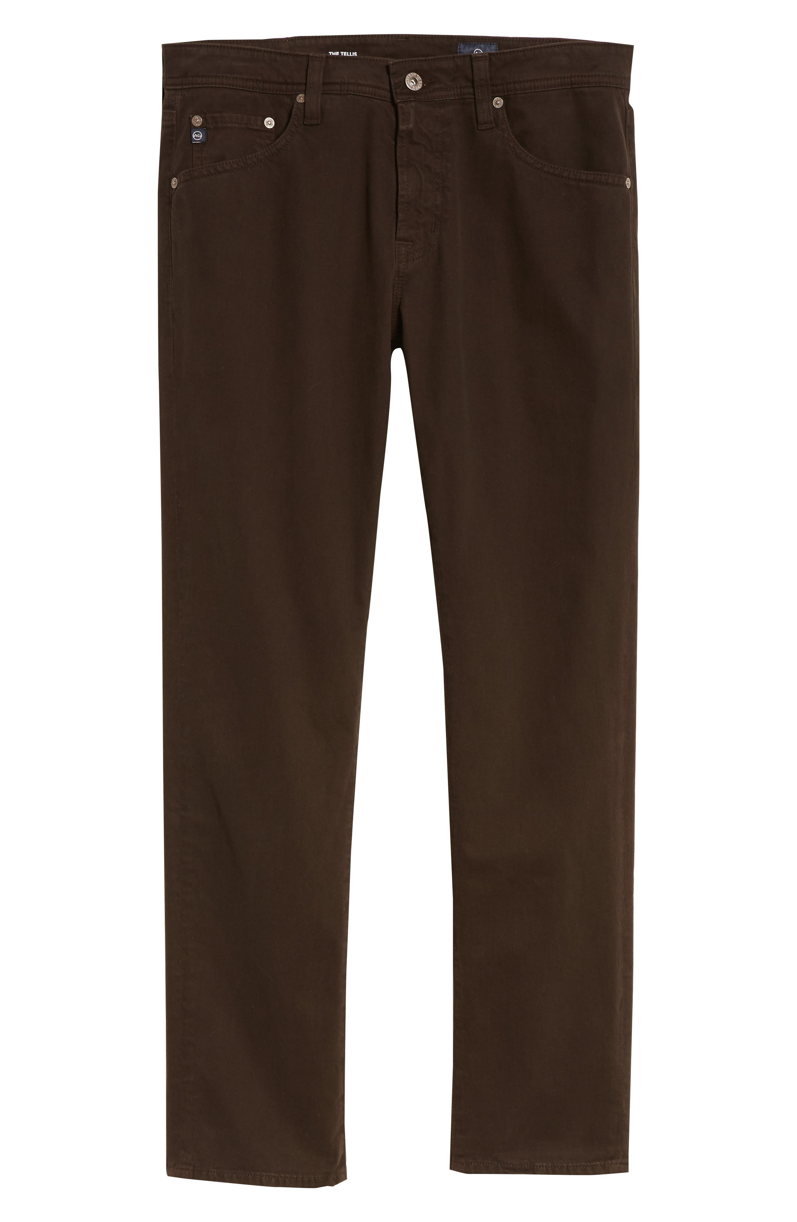 Tellis SUD Modern Slim Stretch Twill Pants,                             Alternate thumbnail 6, color,                             Shutter Brown