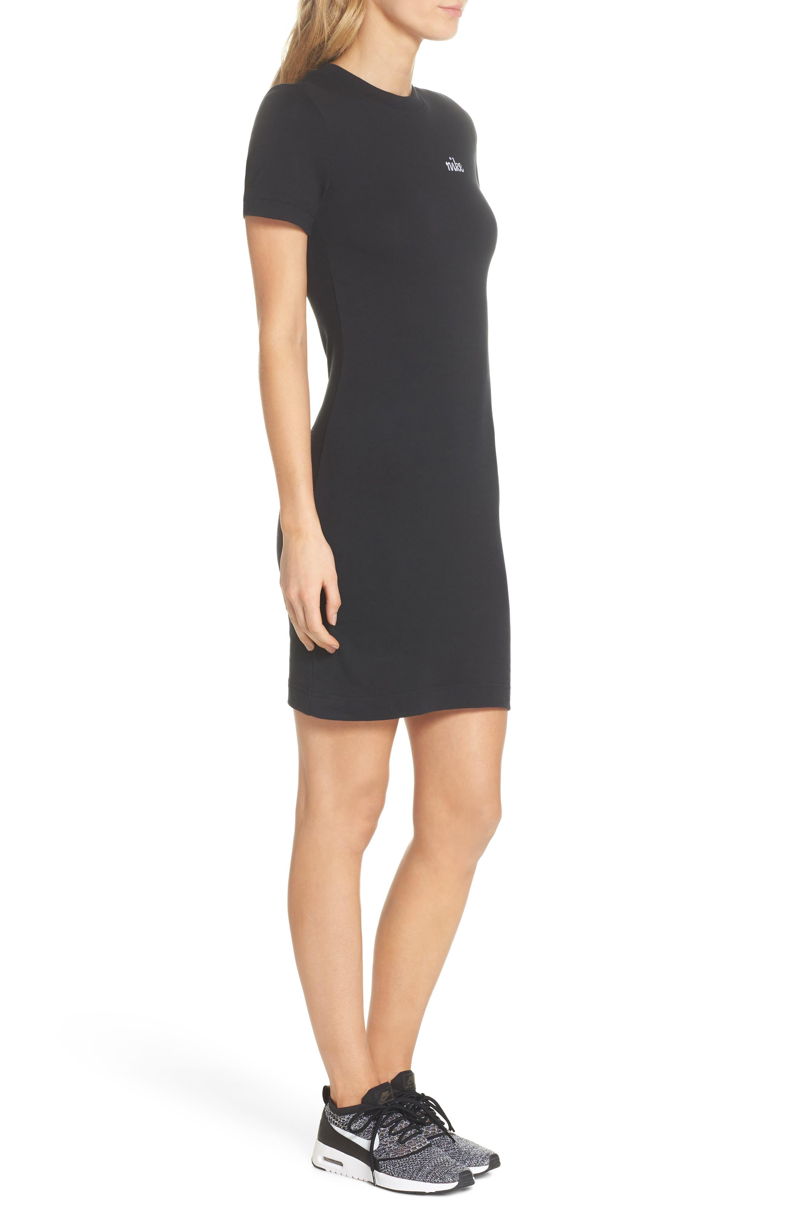 Sportswear T-Shirt Dress,                             Alternate thumbnail 3, color,                             Black/ White